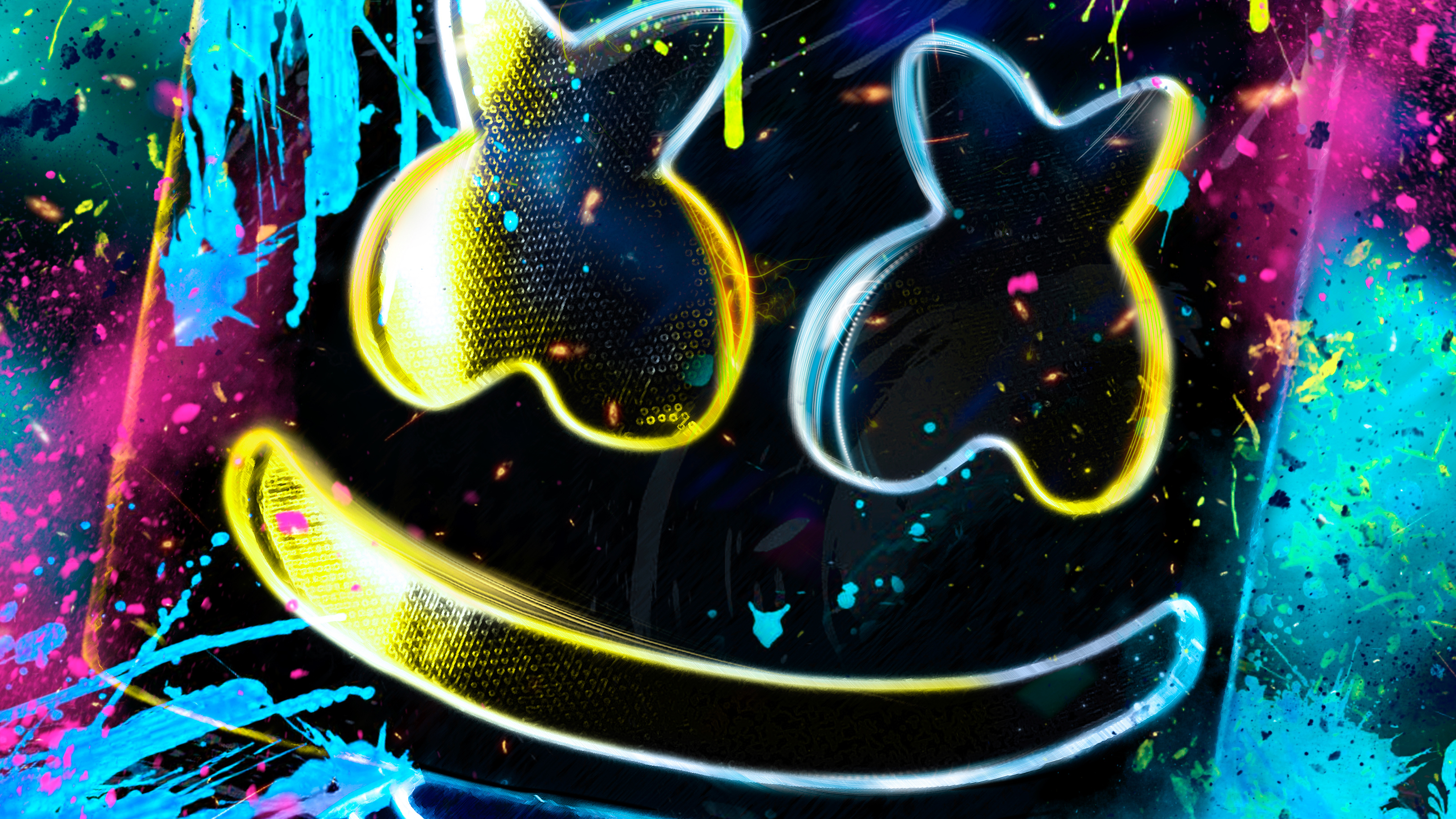 Neon Marshmello Hd Music 4k Wallpapers Images