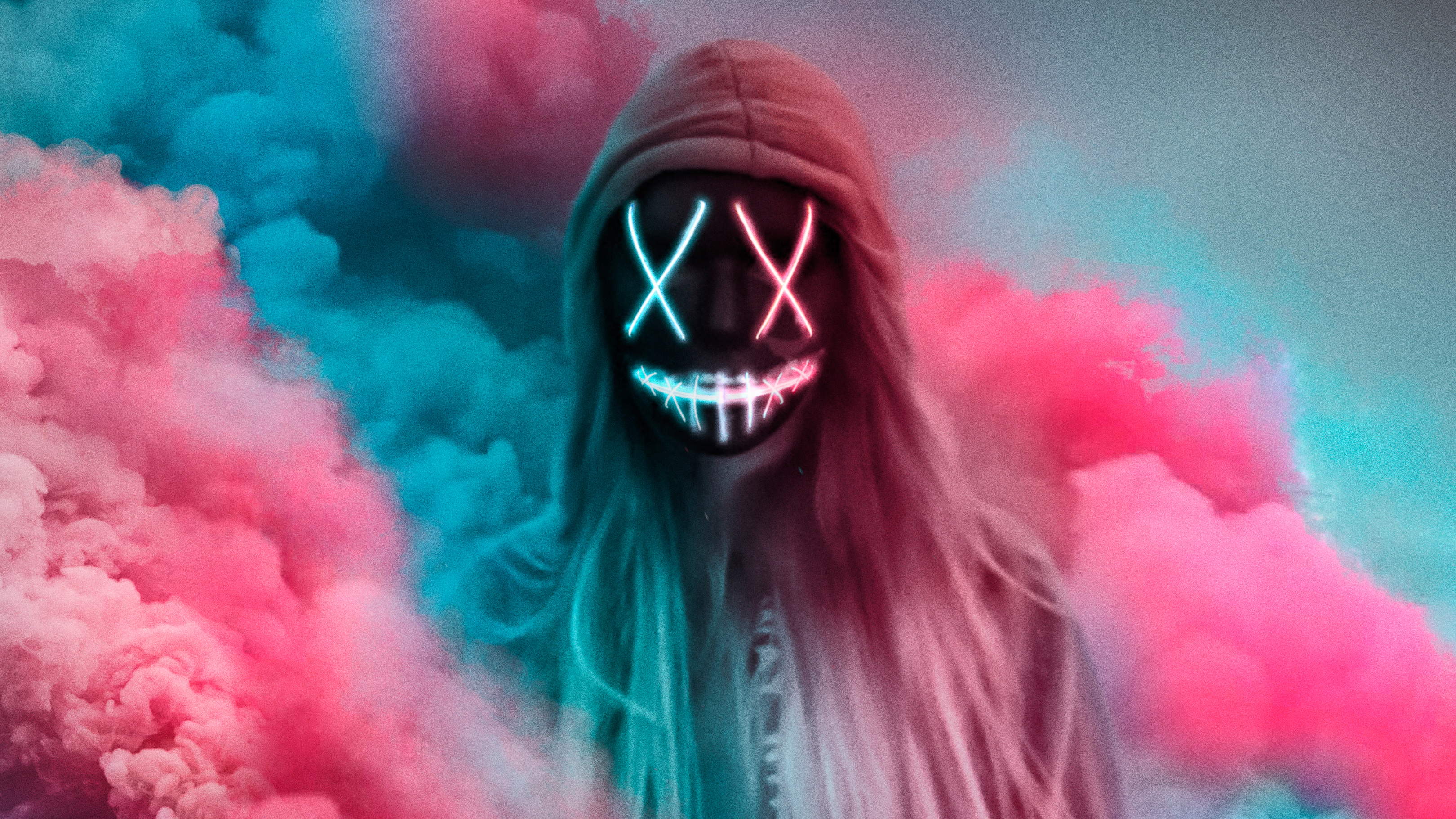 1336x768 Neon Mask Girl Colorful Gas Laptop Hd Hd 4k