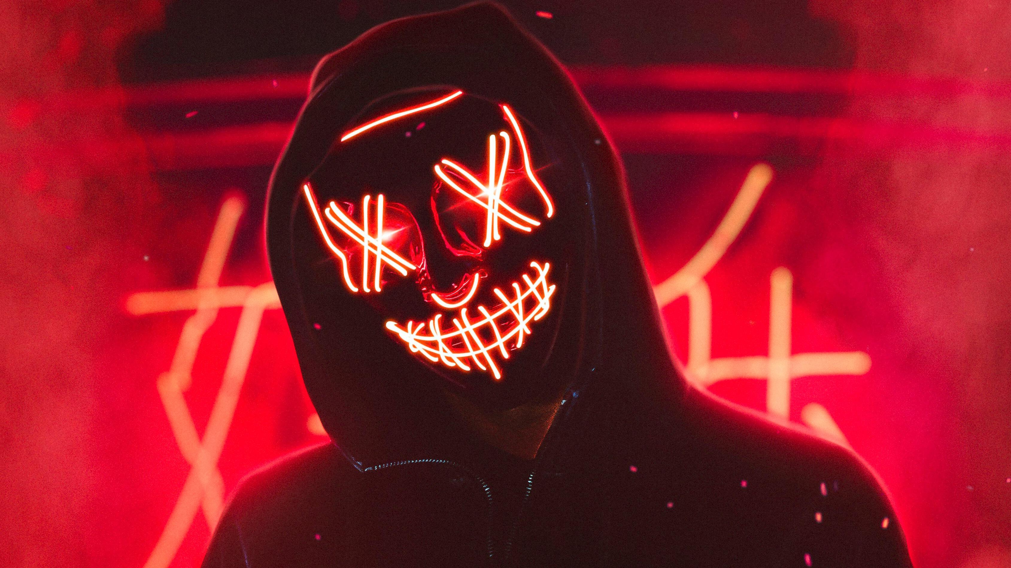 Neon Mask Guy 4k Hd Artist 4k Wallpapers Images