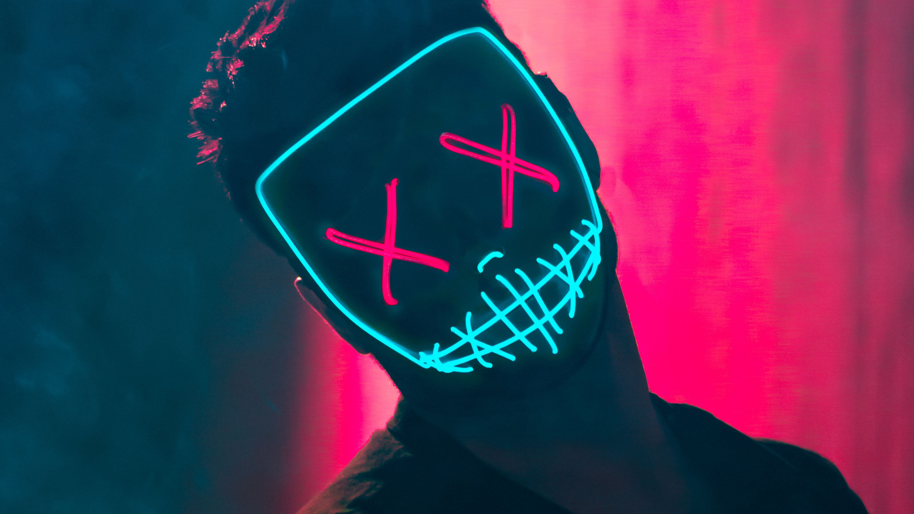 Neon Mask Guy Hd Photography 4k Wallpapers Images