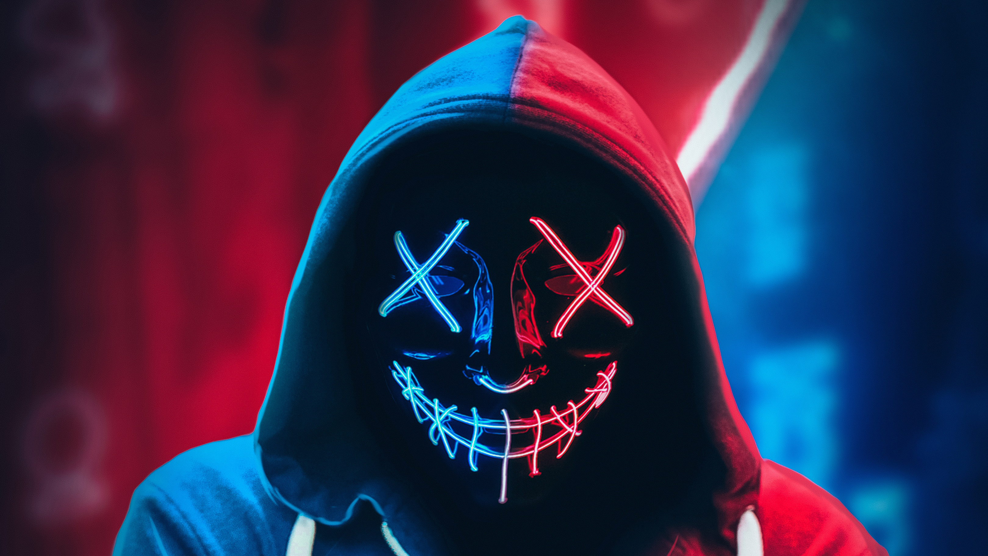 Neon Mask Hoodie 4k Hd Photography 4k Wallpapers Images
