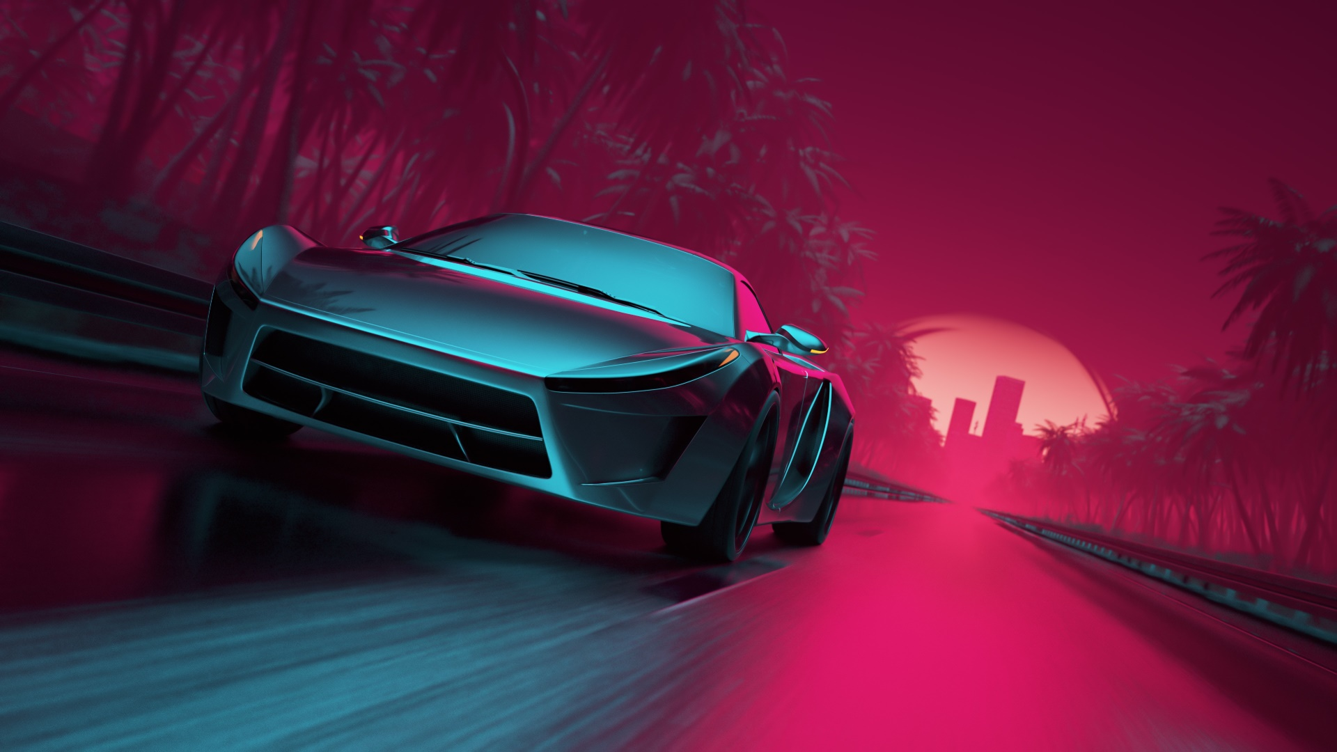 1366x768 Neon Synthwave Sport Car 1366x768 Resolution Hd 4k