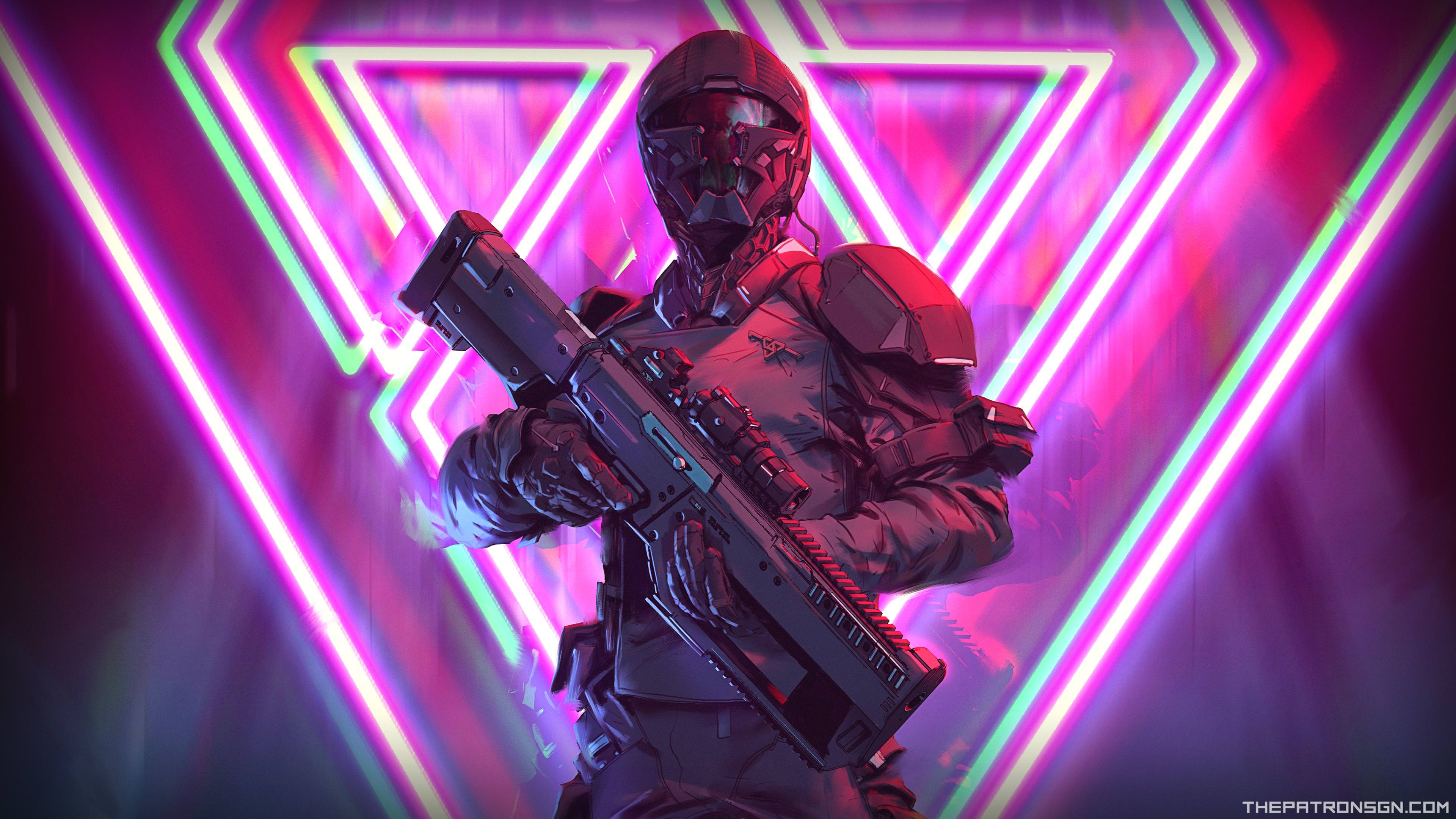 Neon Weapon Soldier Science Fiction 4k, HD Artist, 4k ...