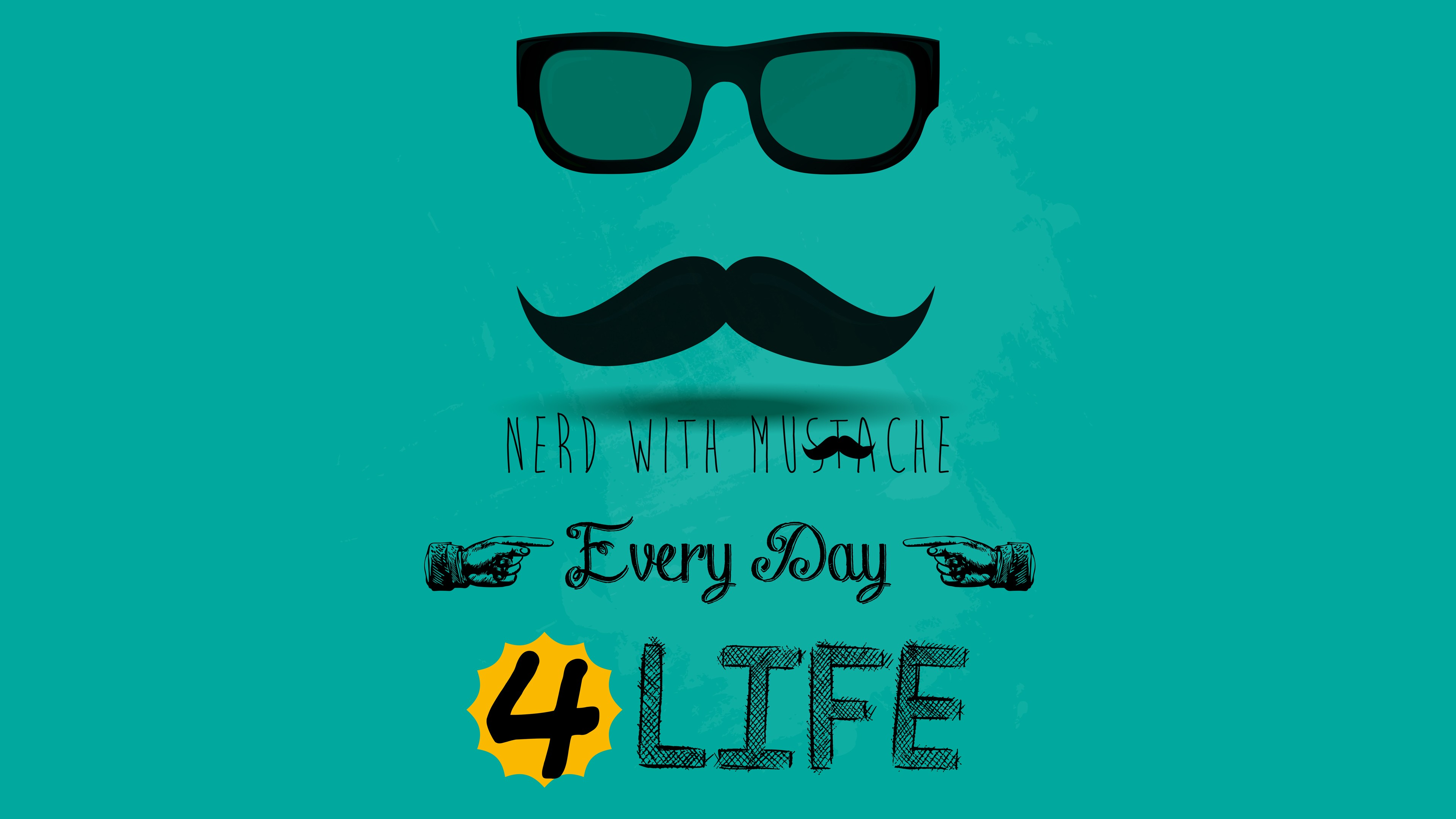 nerd with mustache hd typography 4k wallpapers images