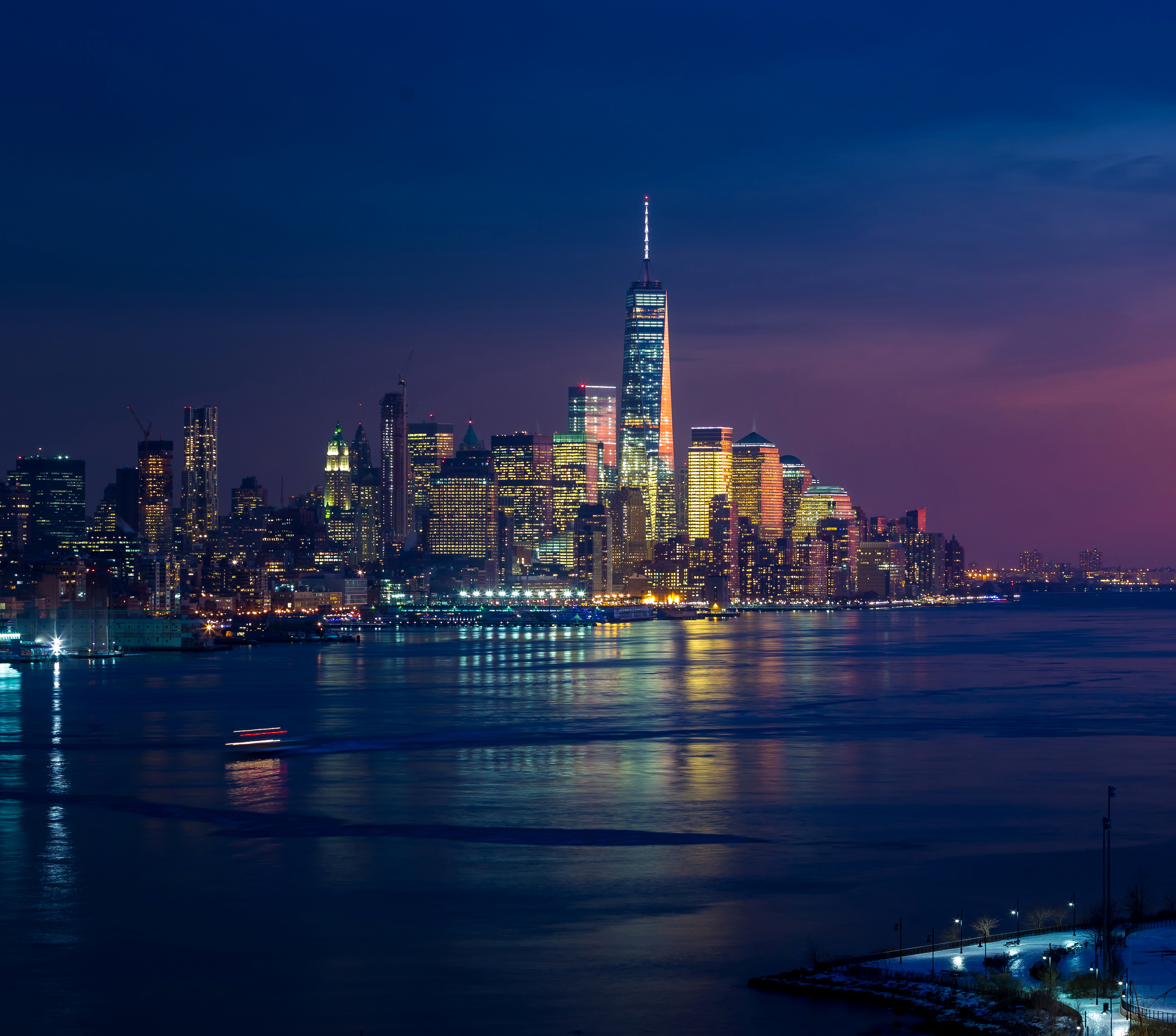 1440x2960 new york skycrapper 4k buildings lights samsung - Samsung s9 wallpaper 4k ...