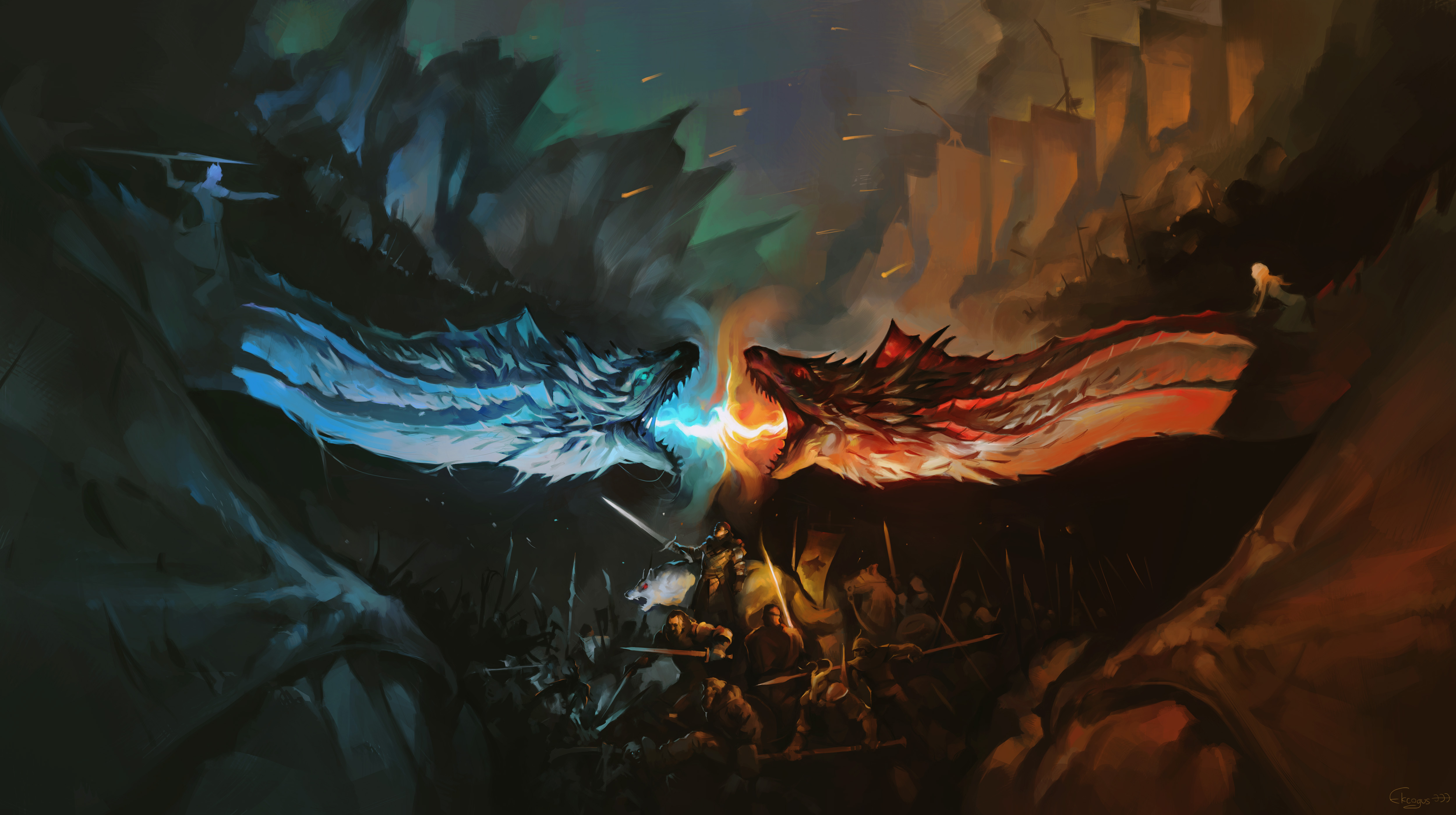 Download Wallpaper Night Dragon - night-king-and-khaleesi-fighting-with-dragons-artwork-na  Snapshot.jpg