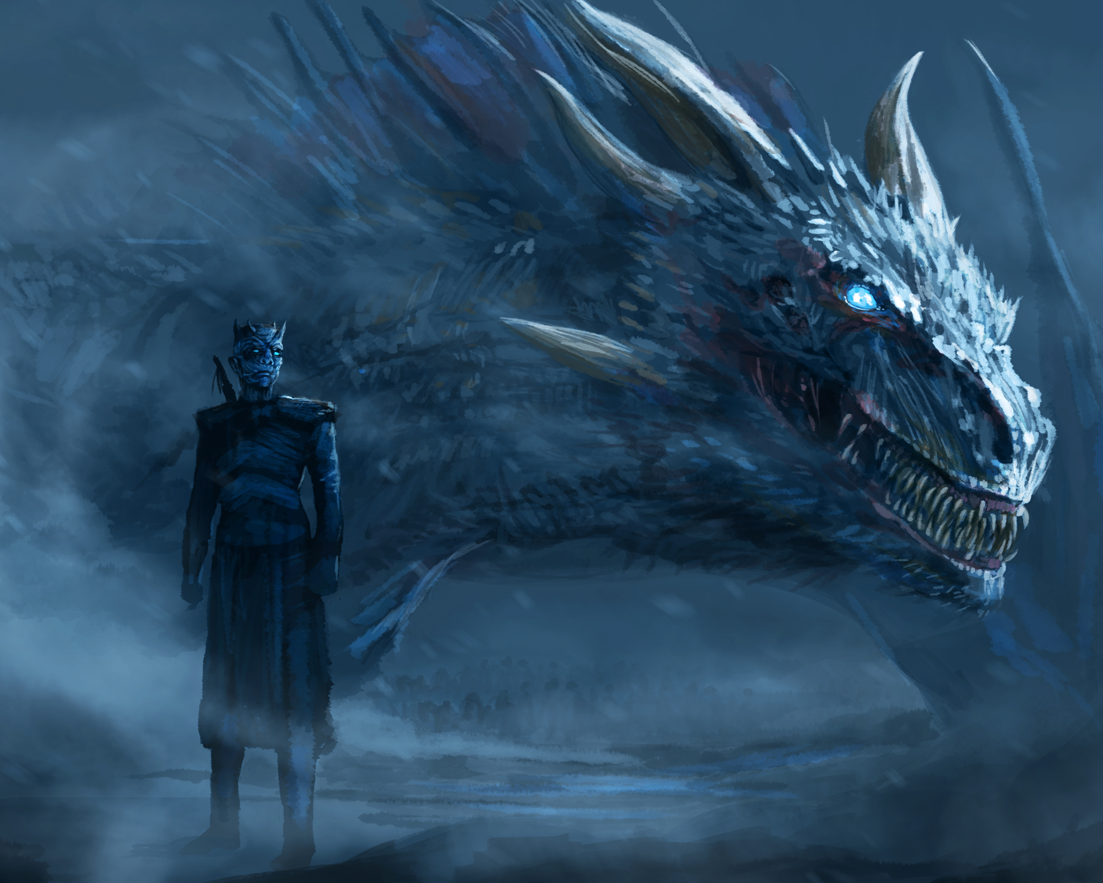 night king blue eyes white dragon hd tv shows 4k wallpapers