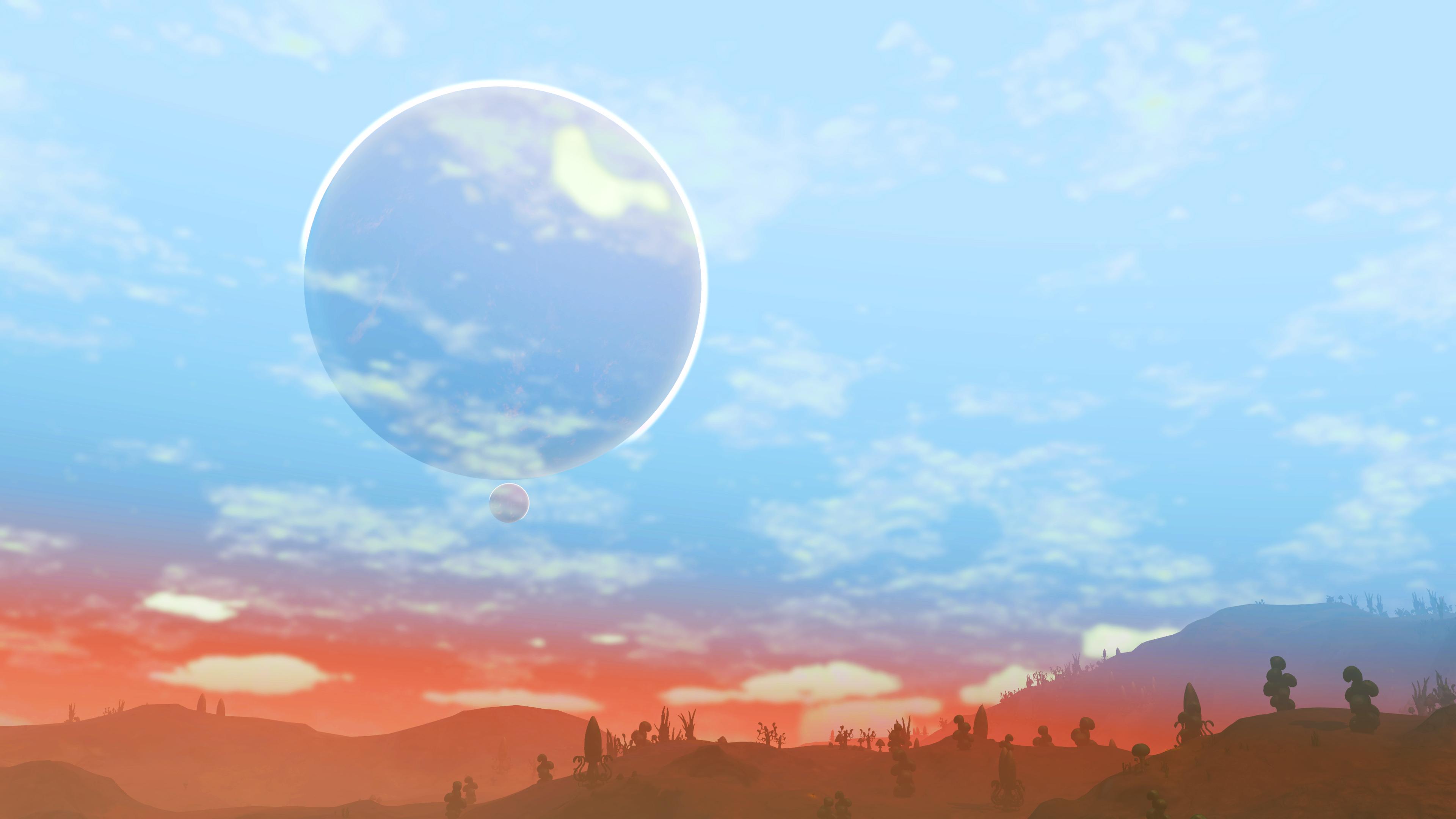 No Man S Sky 4k Wallpaper: No Mans Sky Big And Small Moon 4k, HD Games, 4k Wallpapers