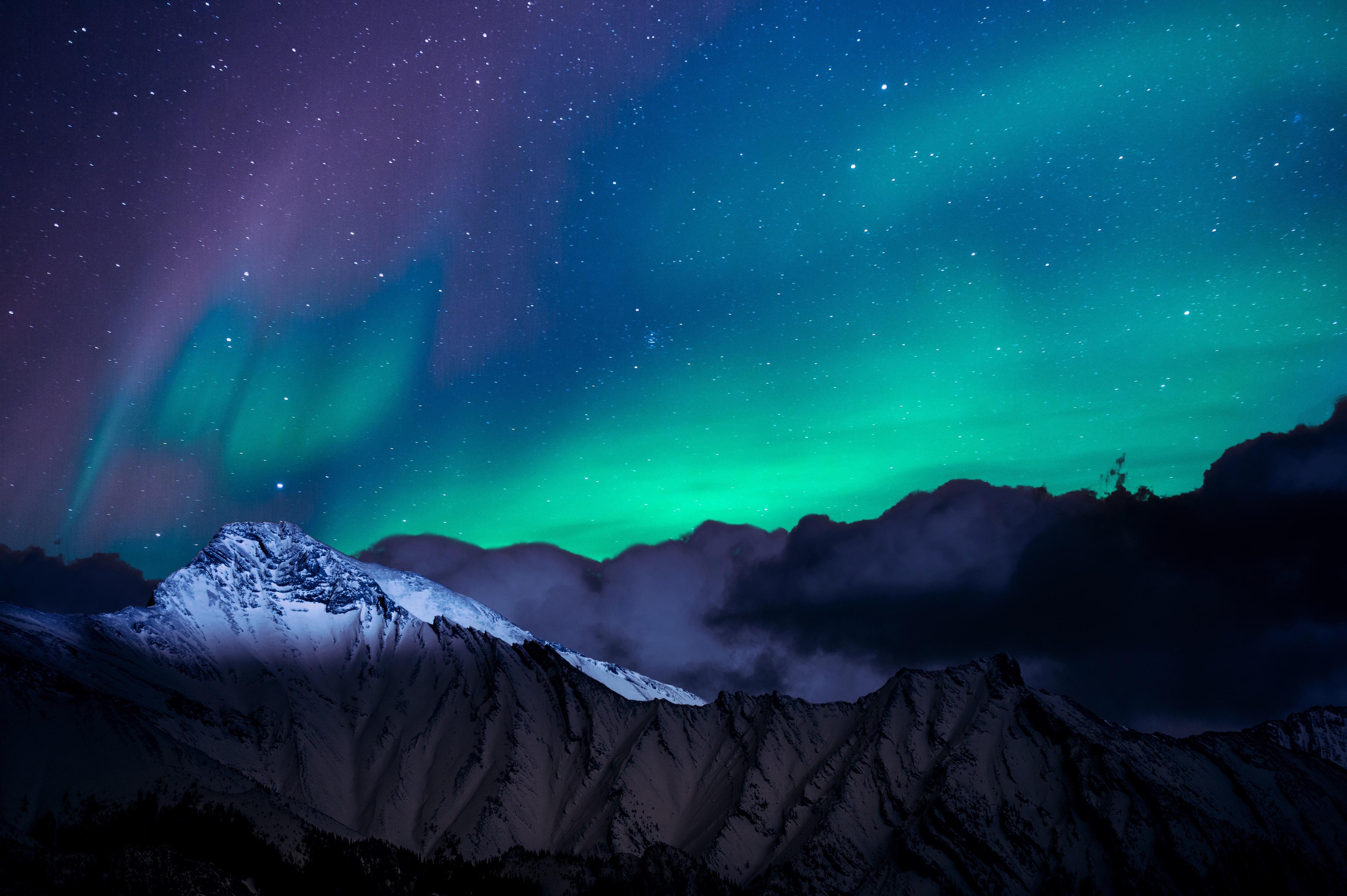 Northern lights night sky mountains landscape 4k hd - Night mountain wallpaper 4k ...