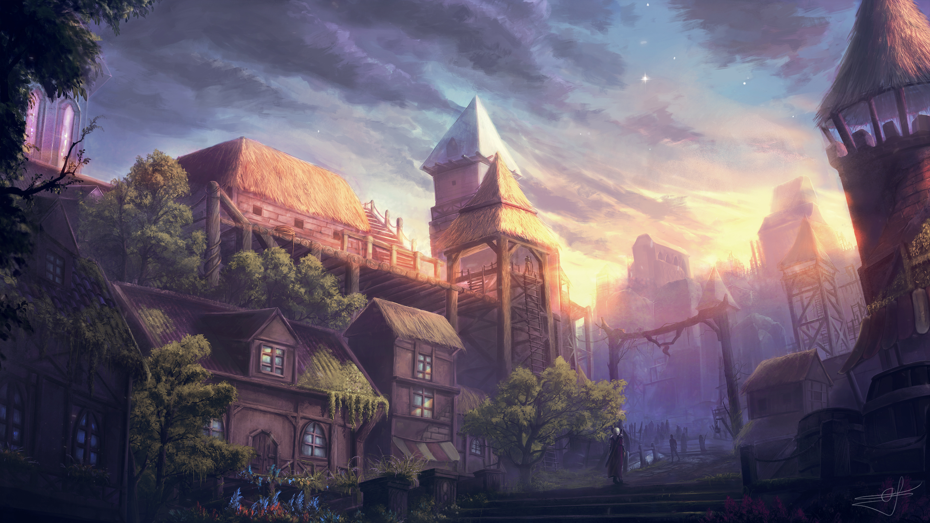old city fantasy, hd artist, 4k wallpapers, images, backgrounds