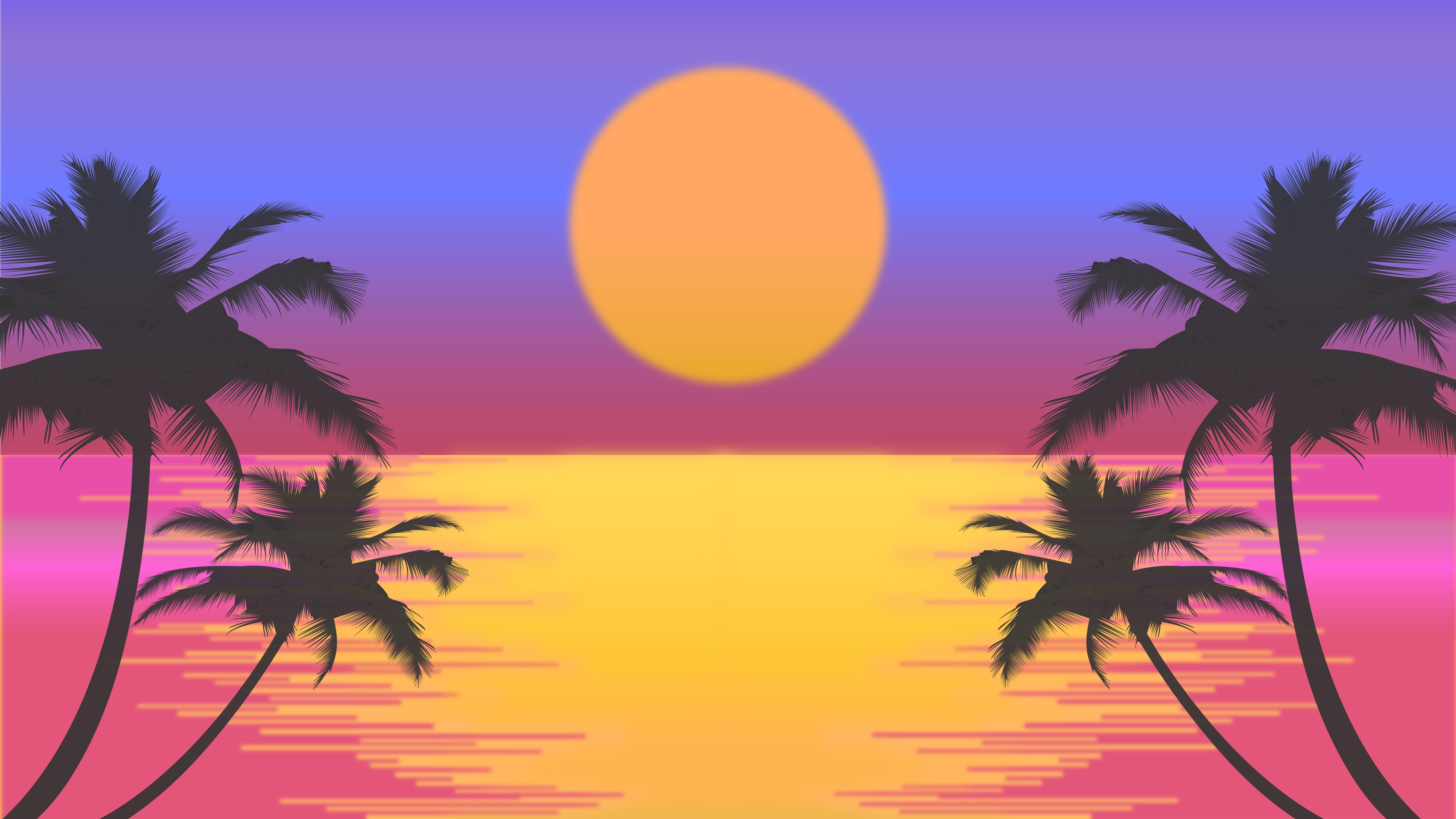 7680x4320 Palm Trees Sun Vector Artwork 8k 8k HD 4k ...