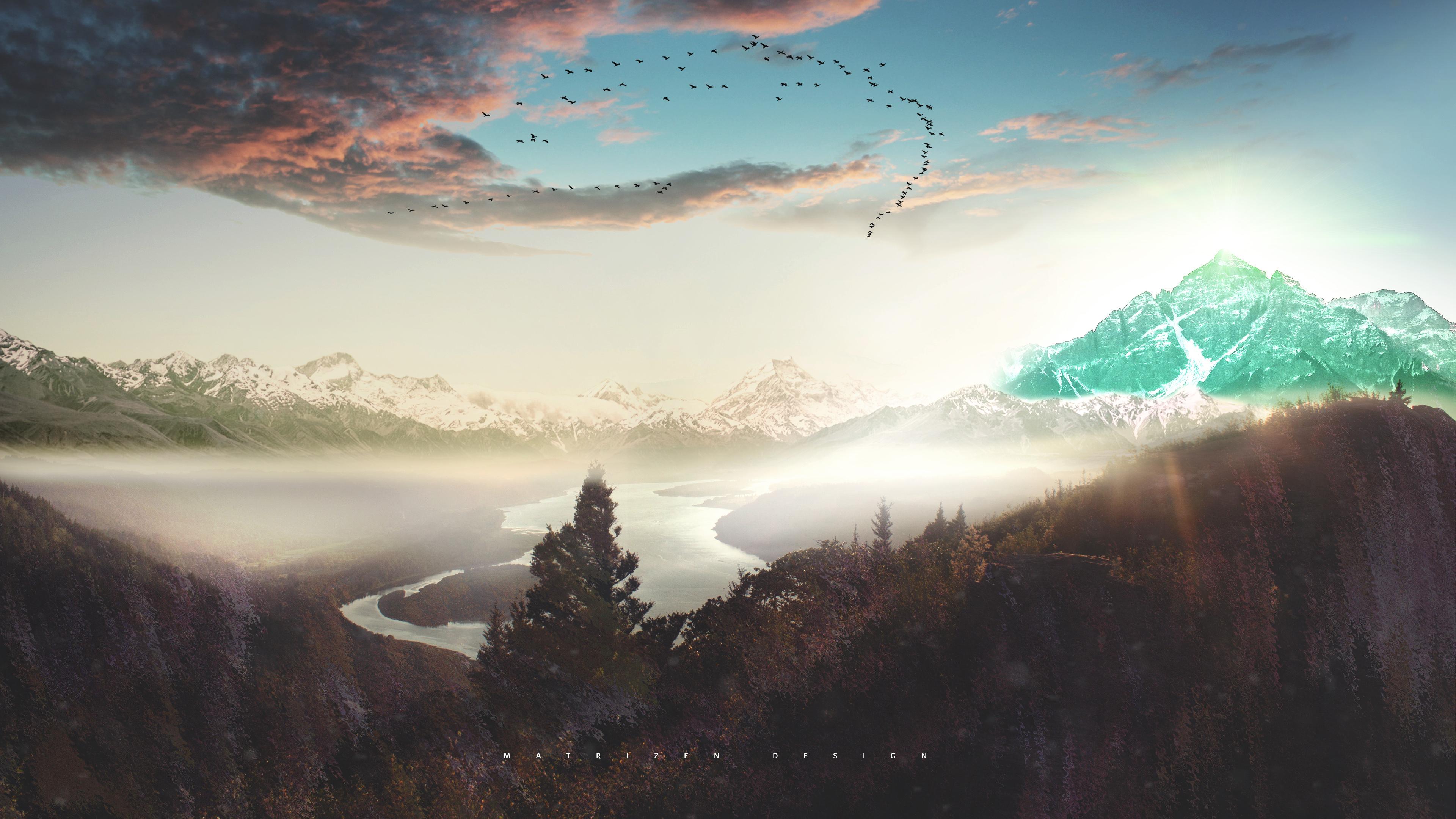 Photo Manipulation Mountains Clouds River Snow Sunset Concept Digital Art 4k