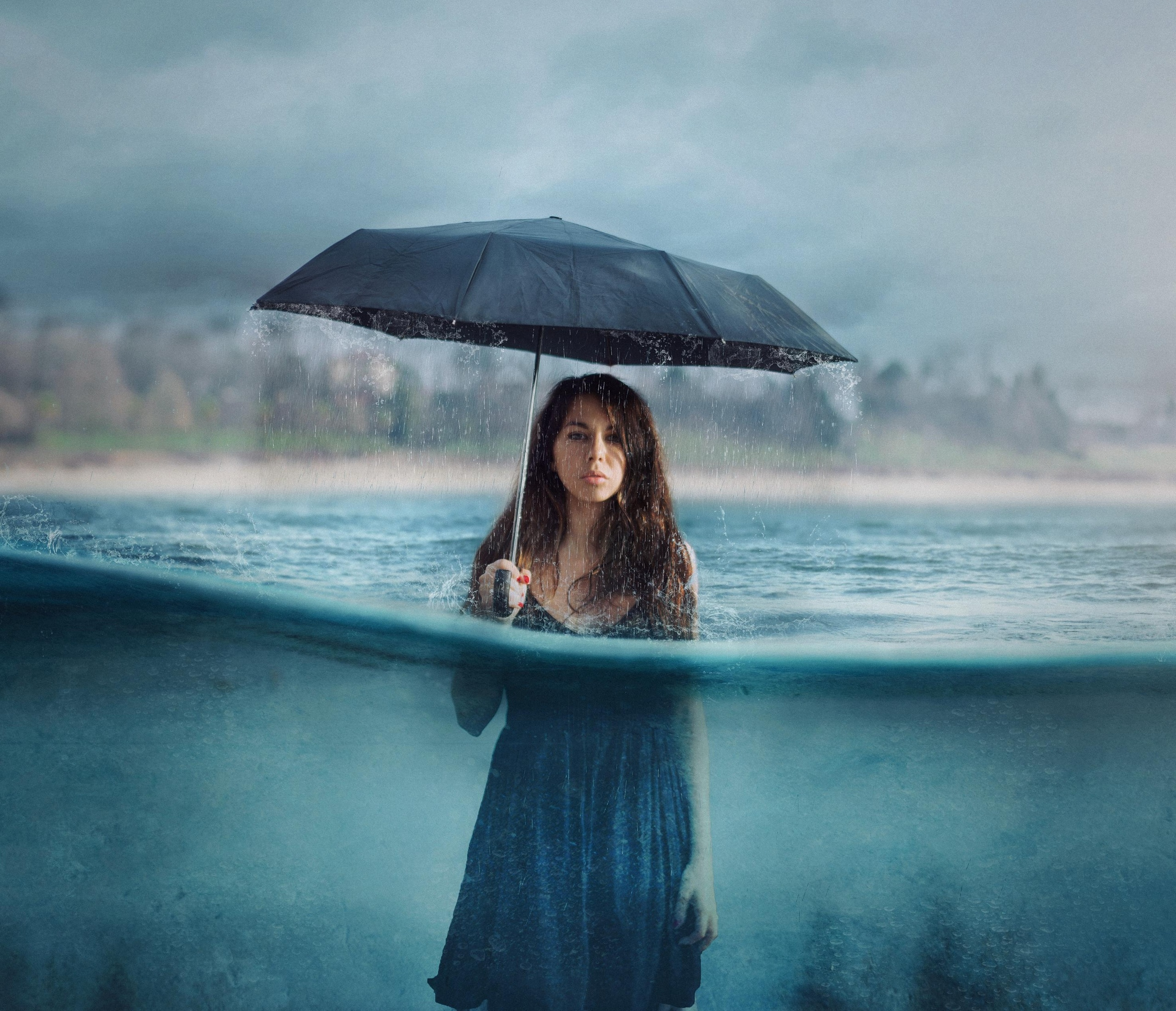 Photography Manipulation Umbrella Girl Women Rain, HD