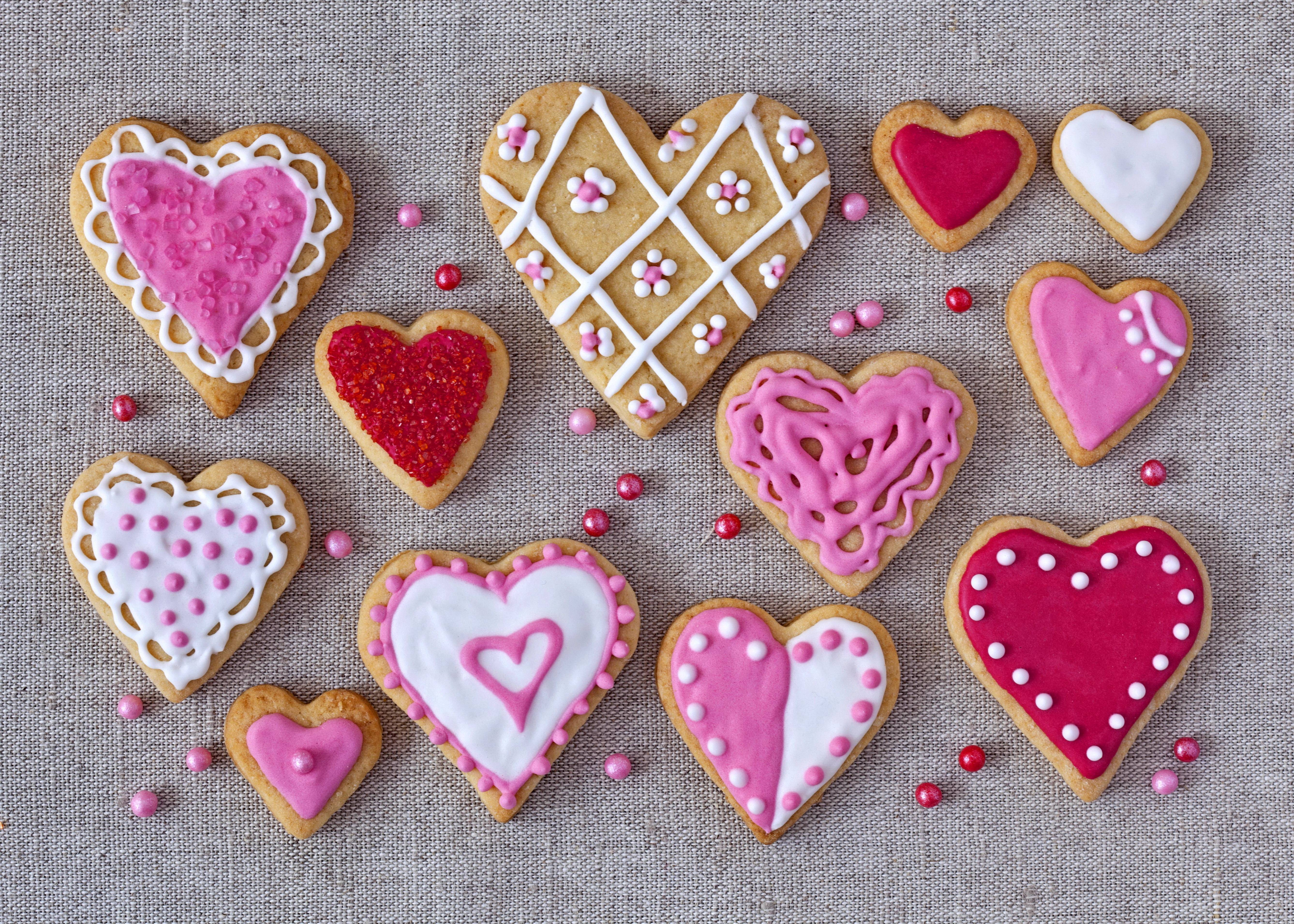 Pink Color Heart Shaped Cookies