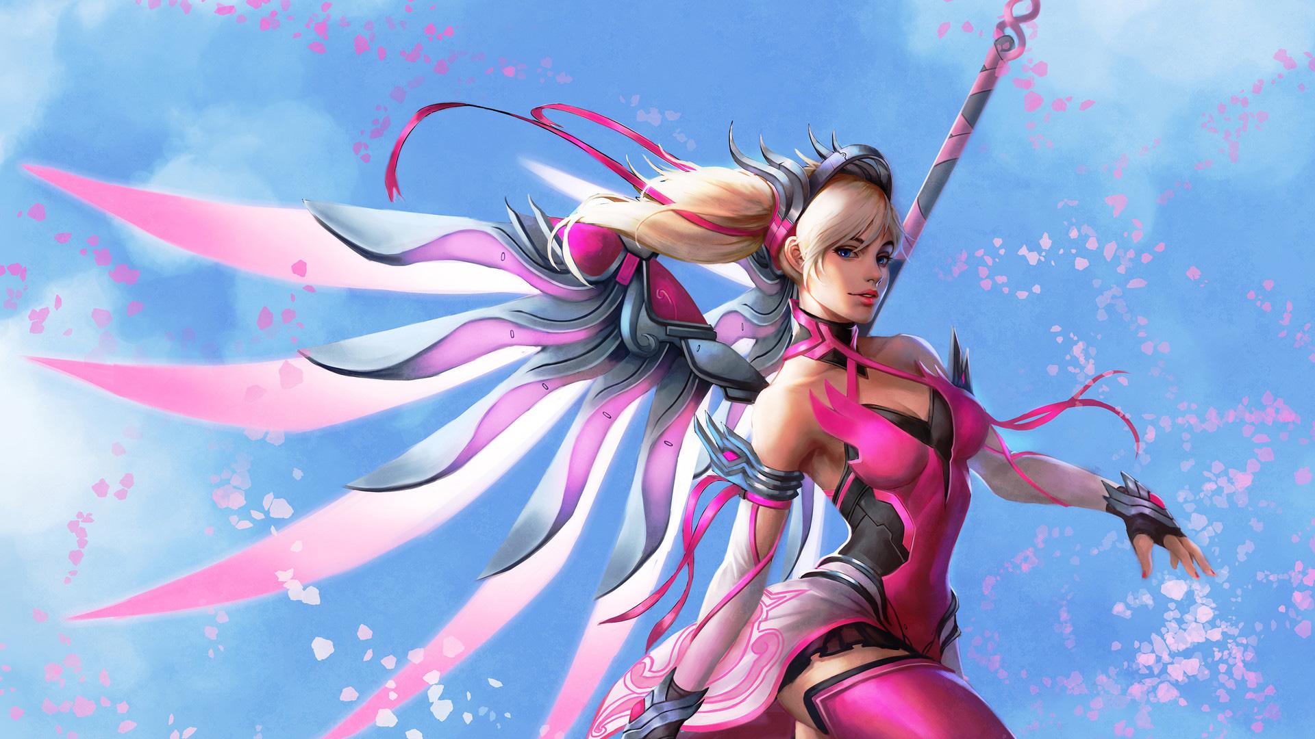 Pink Mercy Overwatch Wings Fantasy Digital Art, HD Artist ...