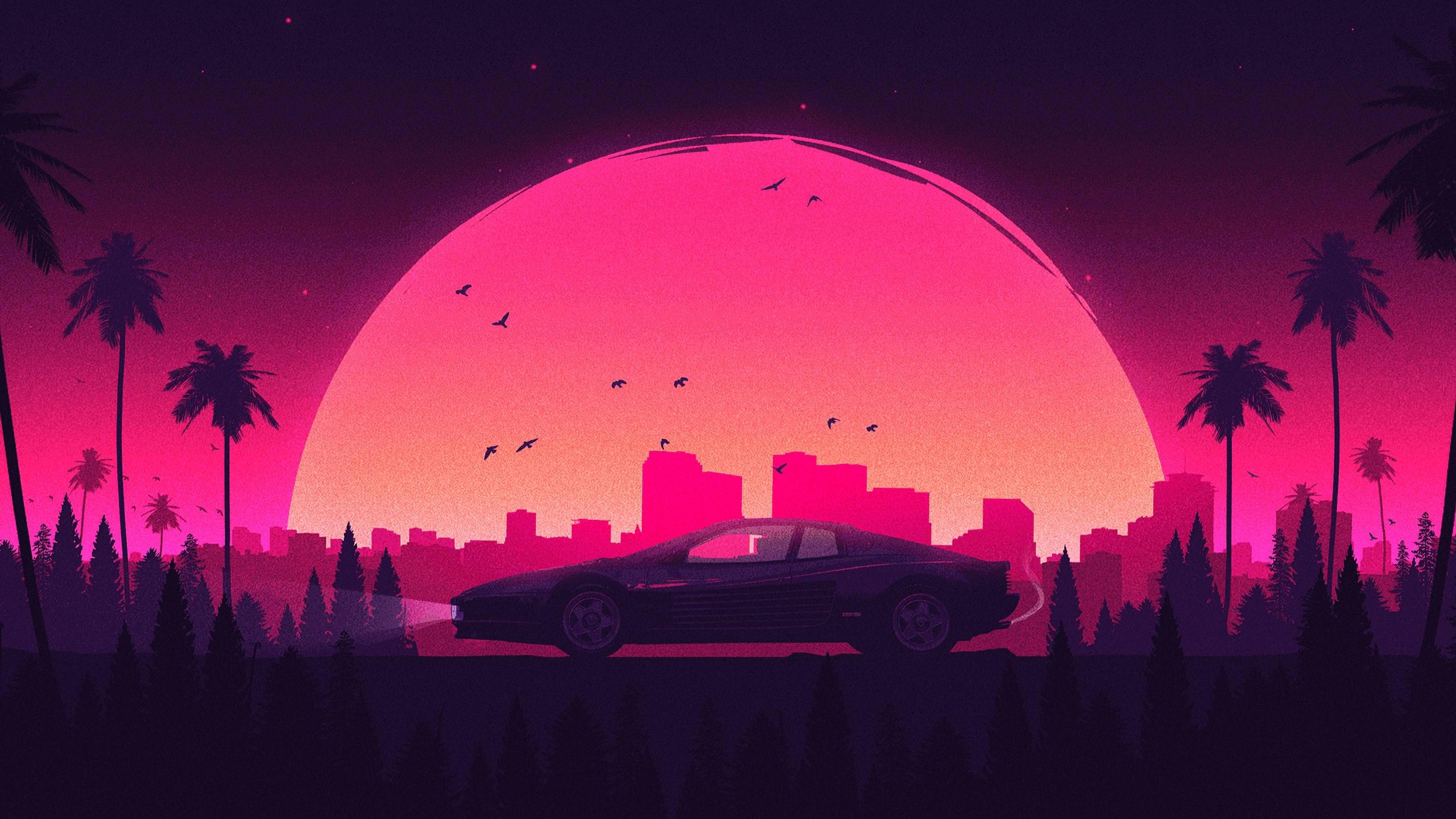 Pink Retro City Lamborghini