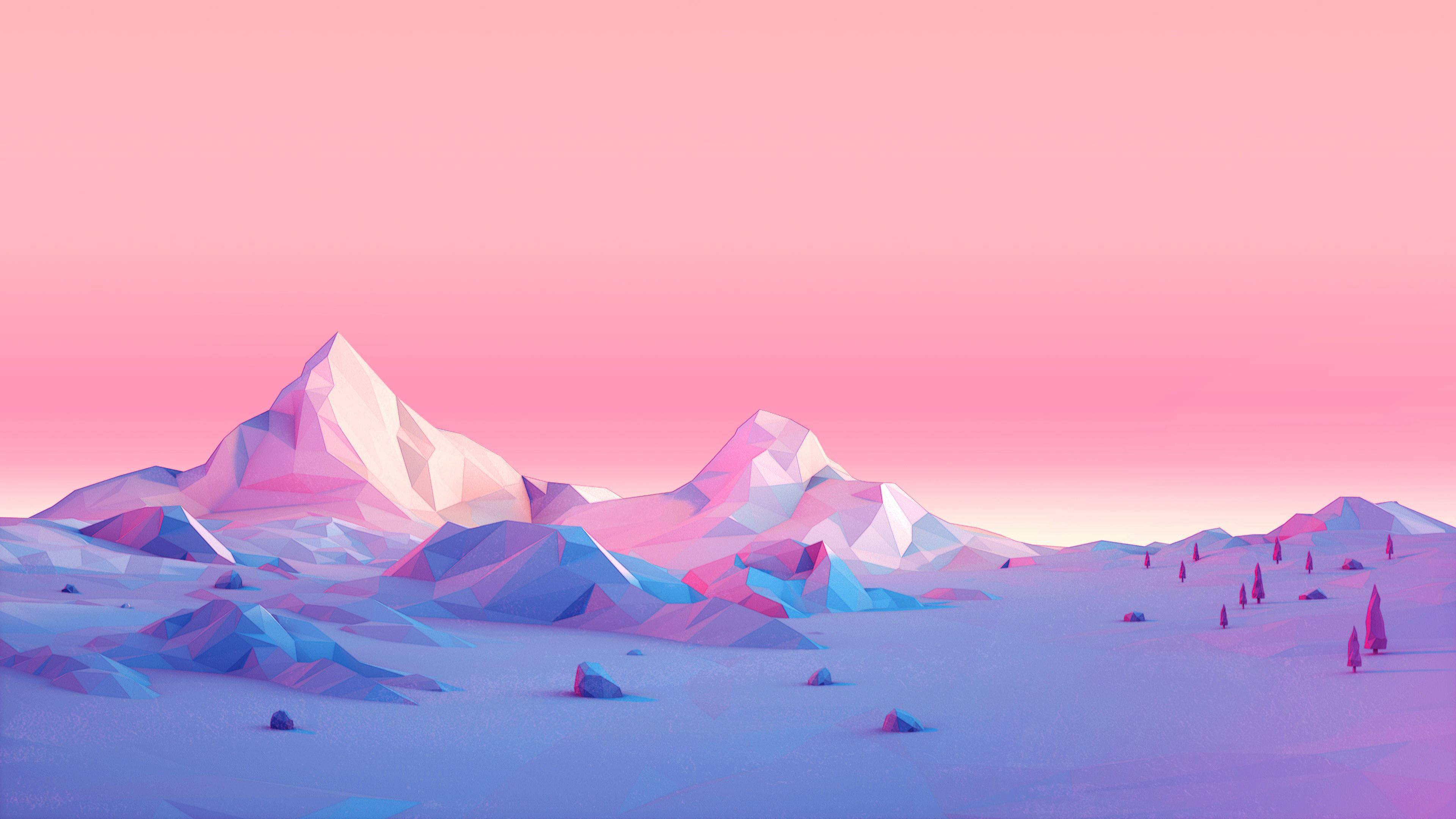 Minimalism Mountain Peak Full Hd Wallpaper: Polygon Mountains Minimalist, HD Artist, 4k Wallpapers