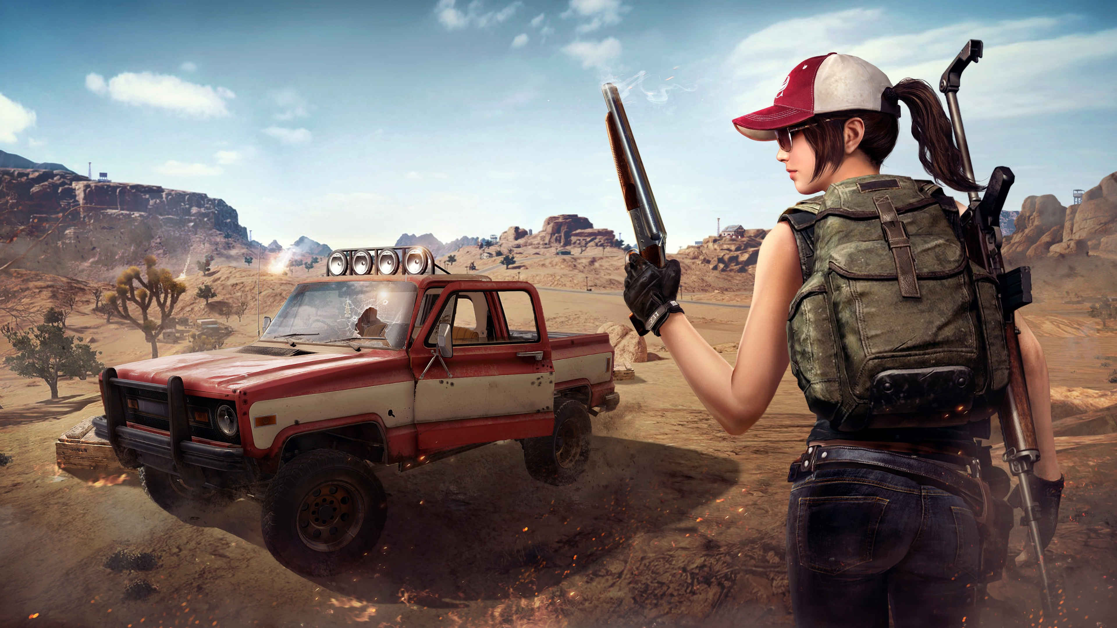 Pubg Helmet Guy With Girls And Guns 4k Hd Games 4k: Wallpaper 4k Player Unknowns Battlegrounds Pubg 4k Girl Player