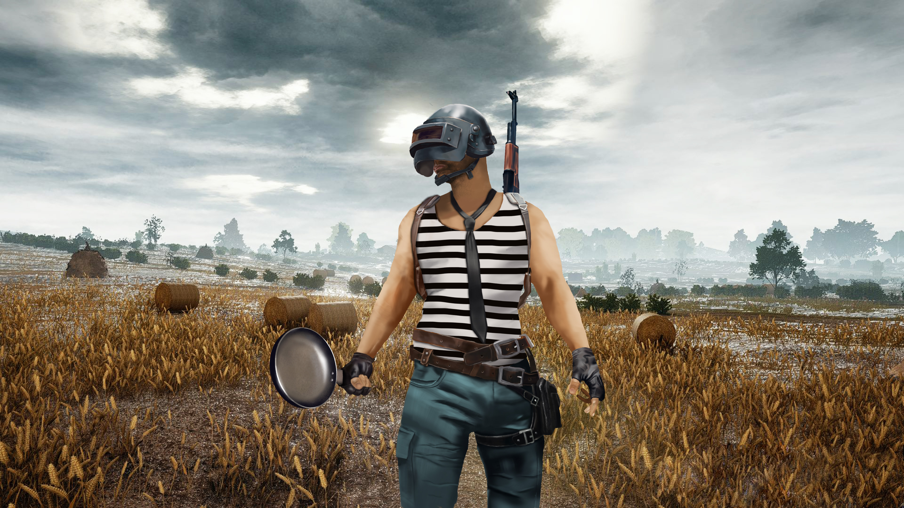 Pubg Helmet Wallpaper 4k: PUBG Helmet And Pan Player, HD Games, 4k Wallpapers