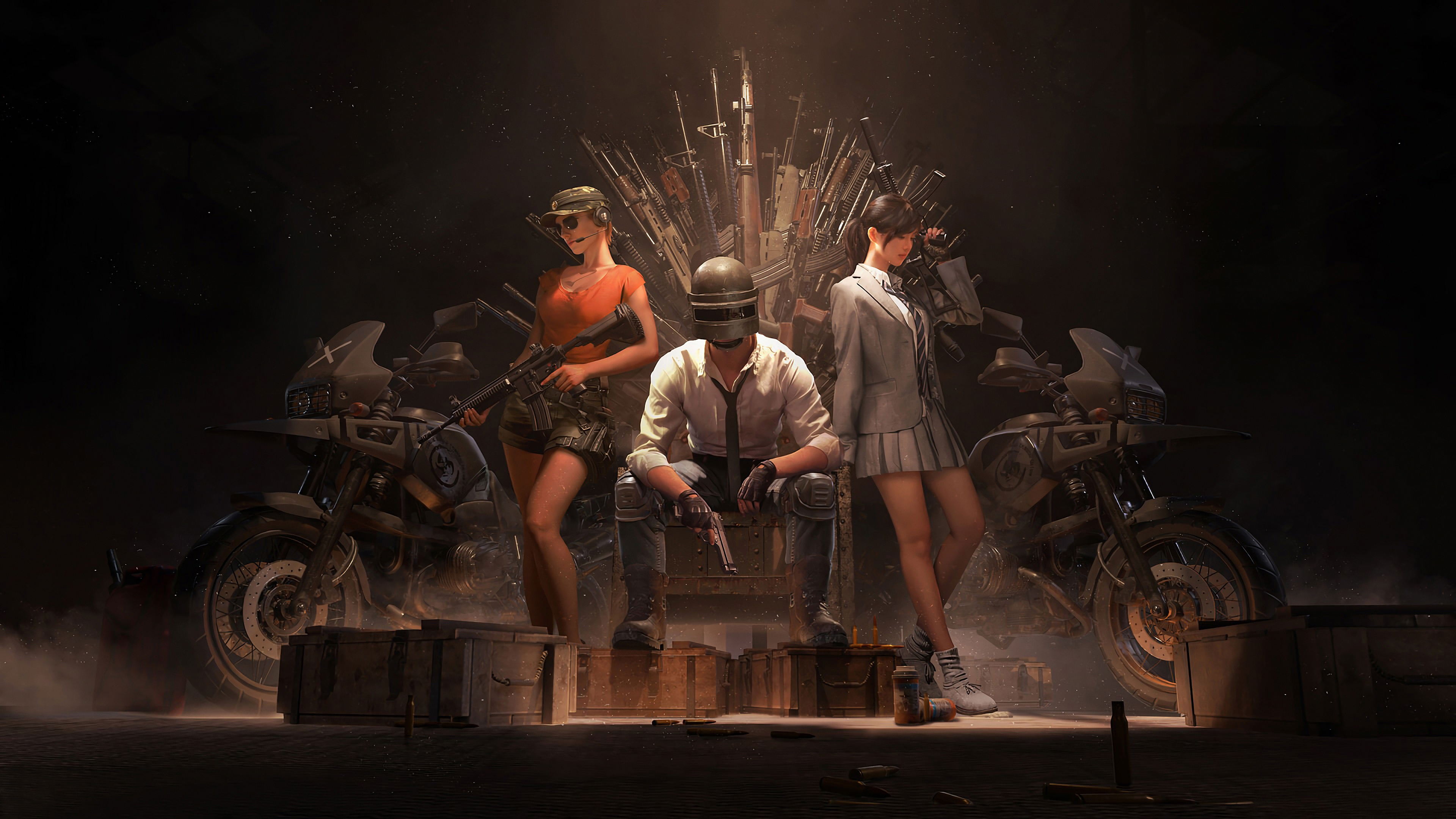 Pubg Wallpaper Hd Pic: Pubg Helmet Guy With Girls And Guns 4k, HD Games, 4k