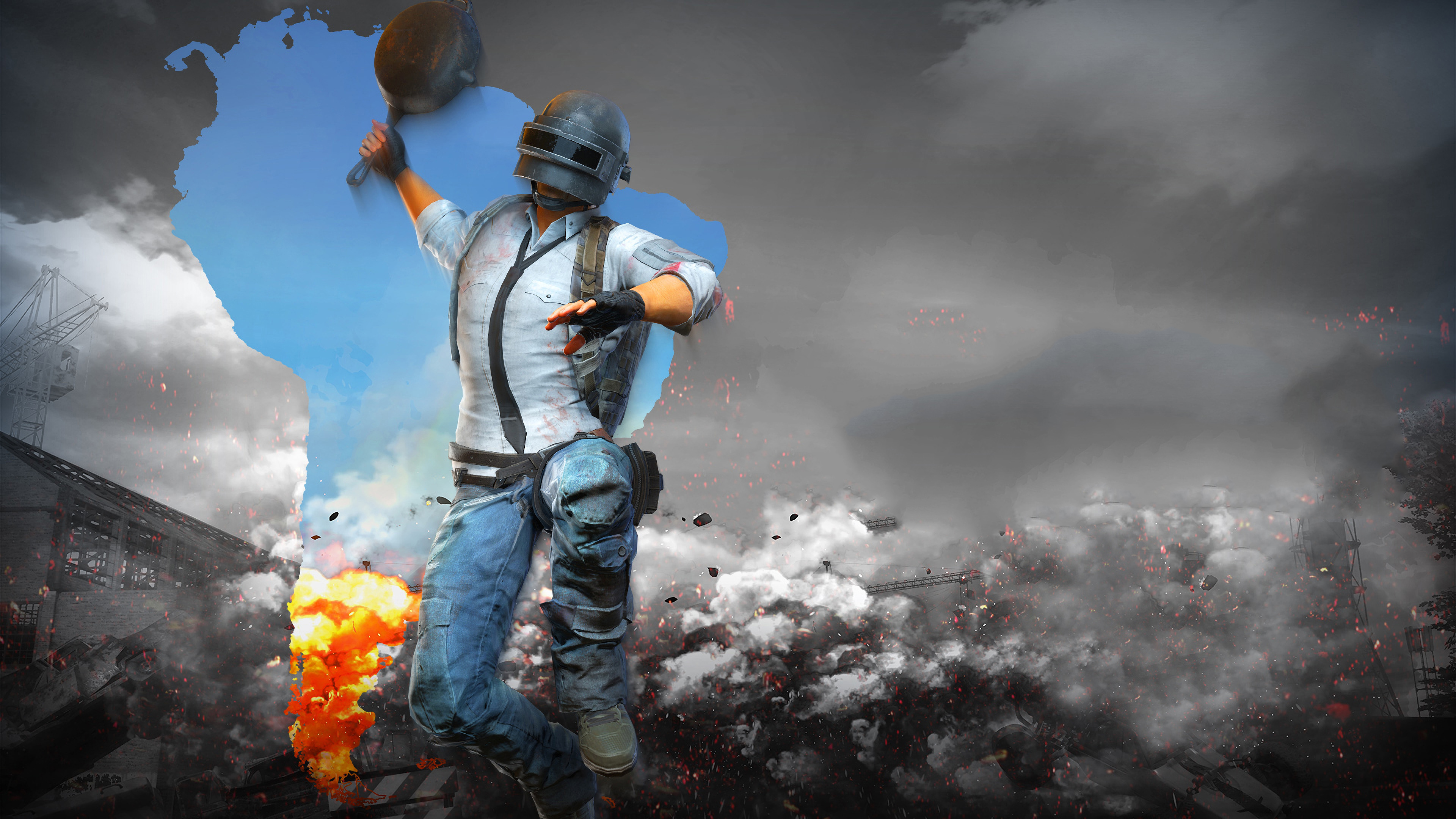 PUBG Helmet Man With Pan 4k, HD Games, 4k Wallpapers