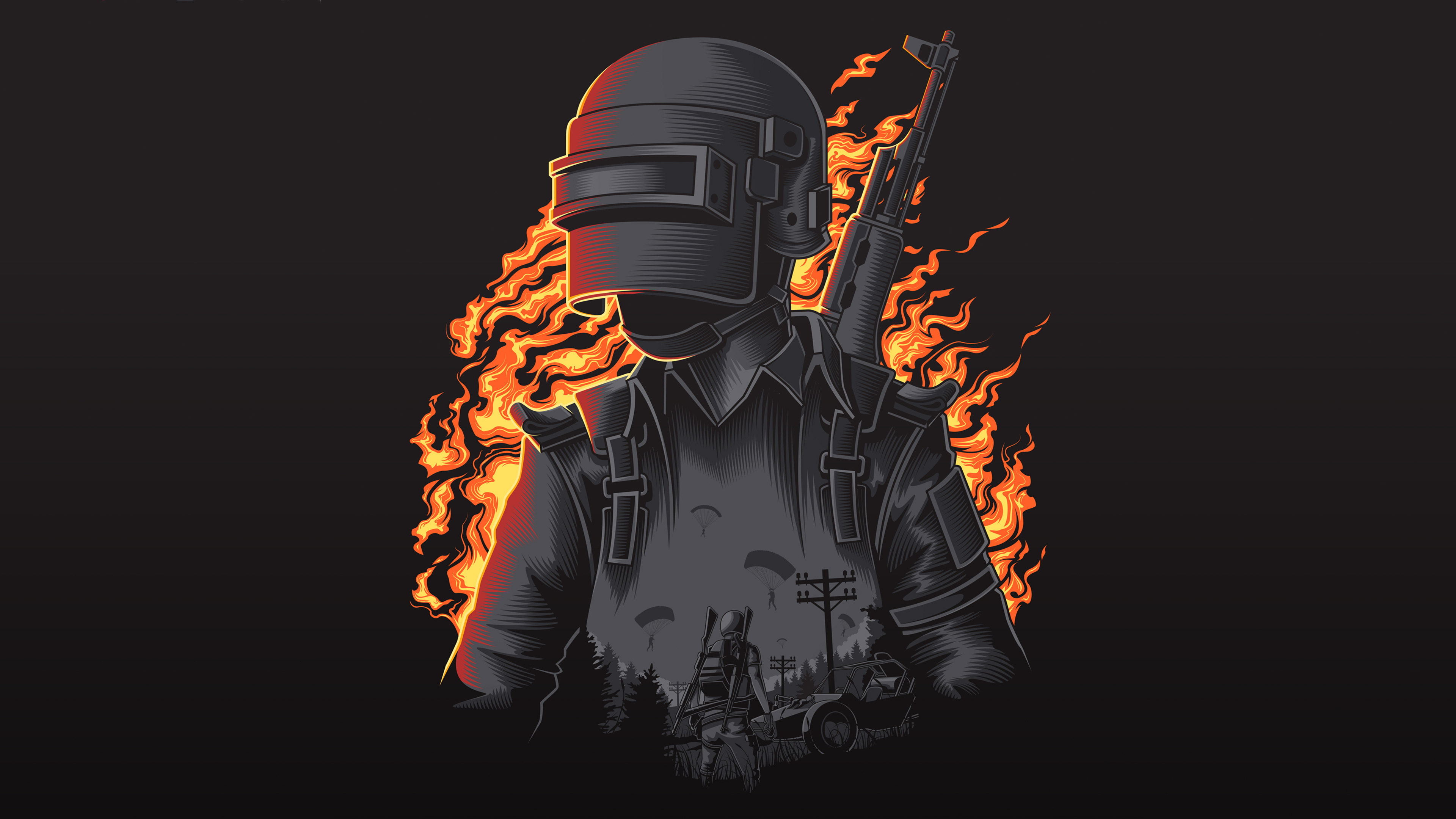 Pubg Minimalist Pophead Full Hd Wallpaper: Pubg Illustration 4k, HD Games, 4k Wallpapers, Images