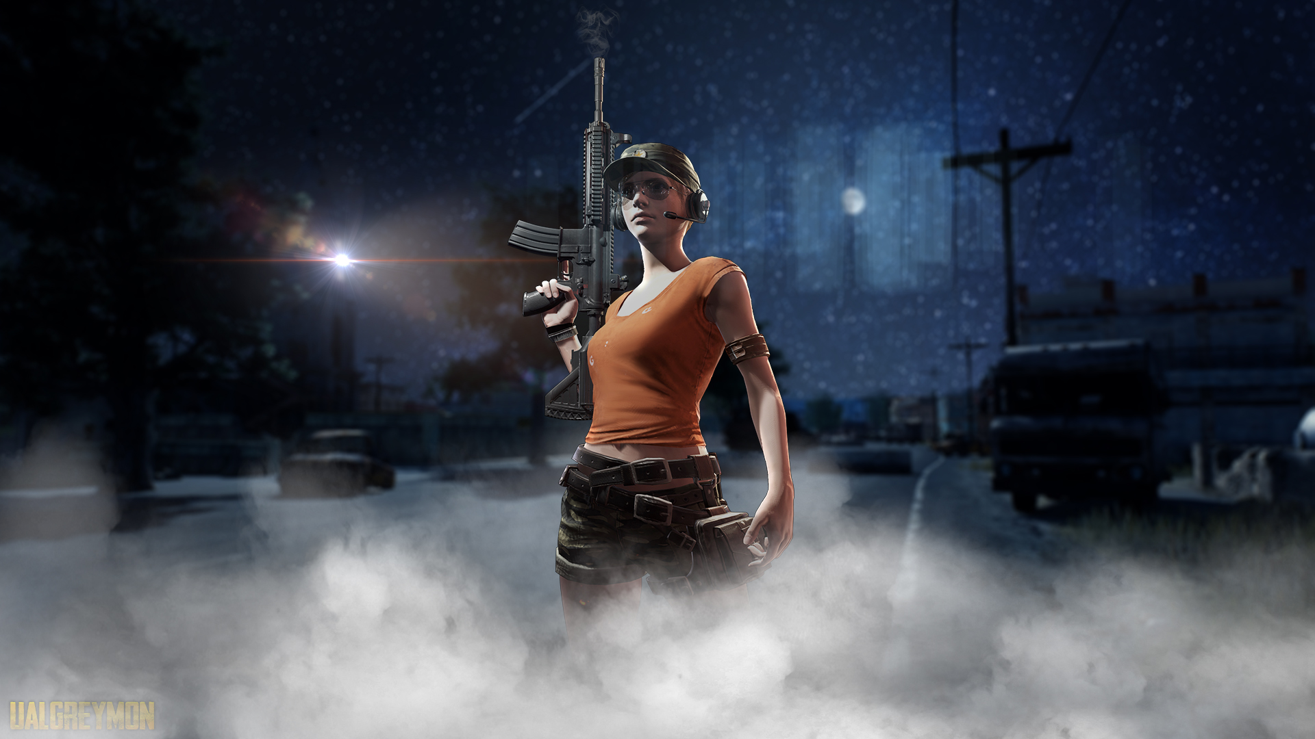 Pubg Helmet Guy With Girls And Guns 4k Hd Games 4k: Pubg Night, HD Games, 4k Wallpapers, Images, Backgrounds