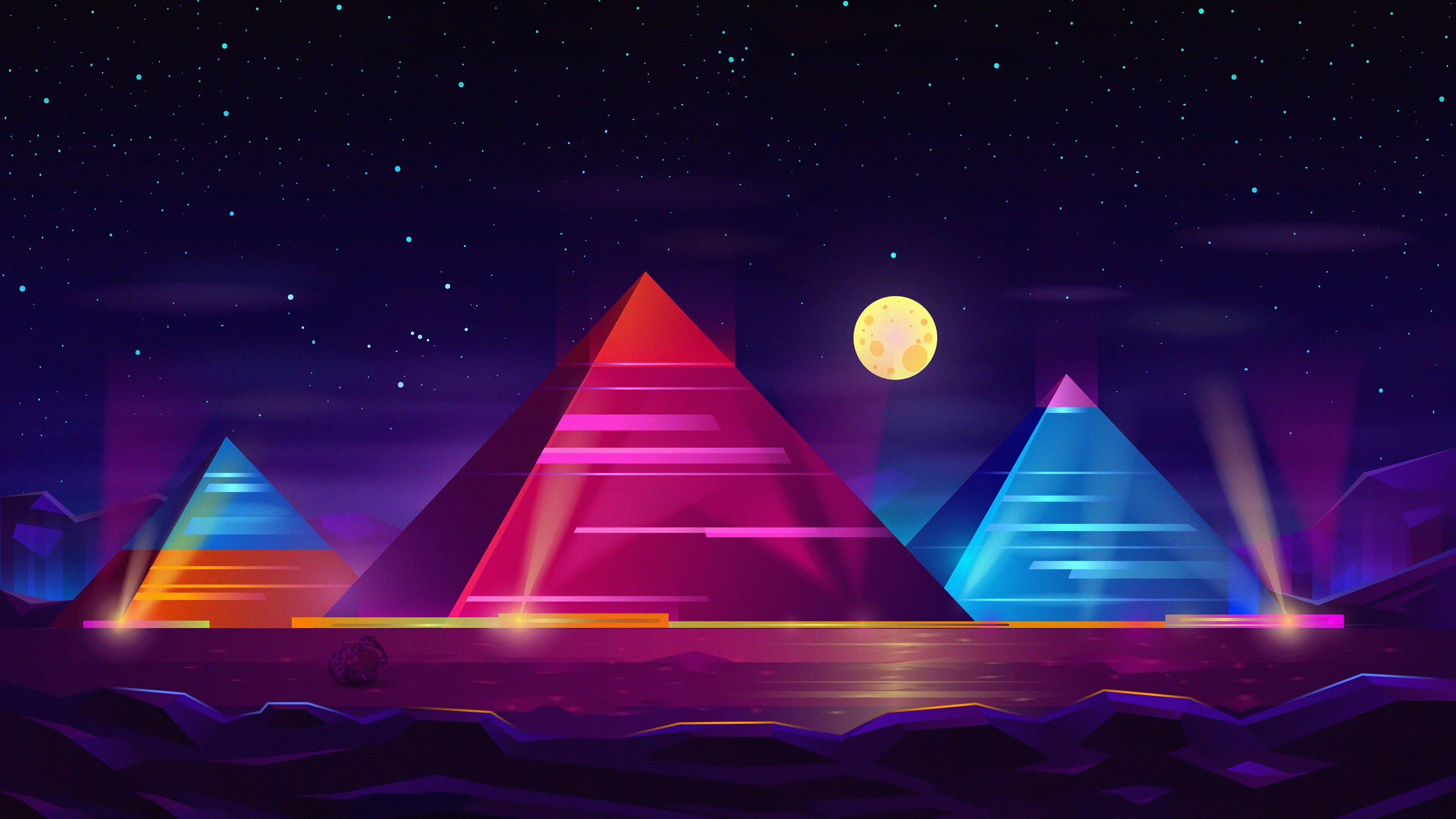 Pyramid Colorful Neon 4k Hd Artist 4k Wallpapers Images