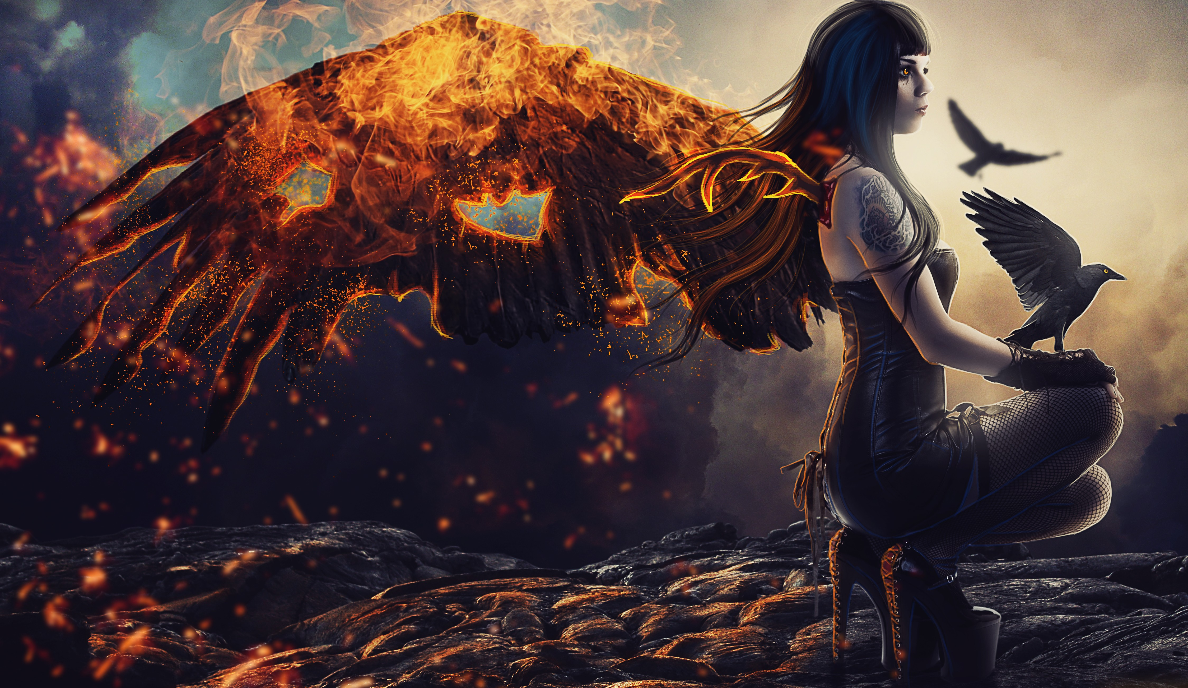 Raven girl artwork 5k hd artist 4k wallpapers images - Digital art wallpaper 3840x1080 ...