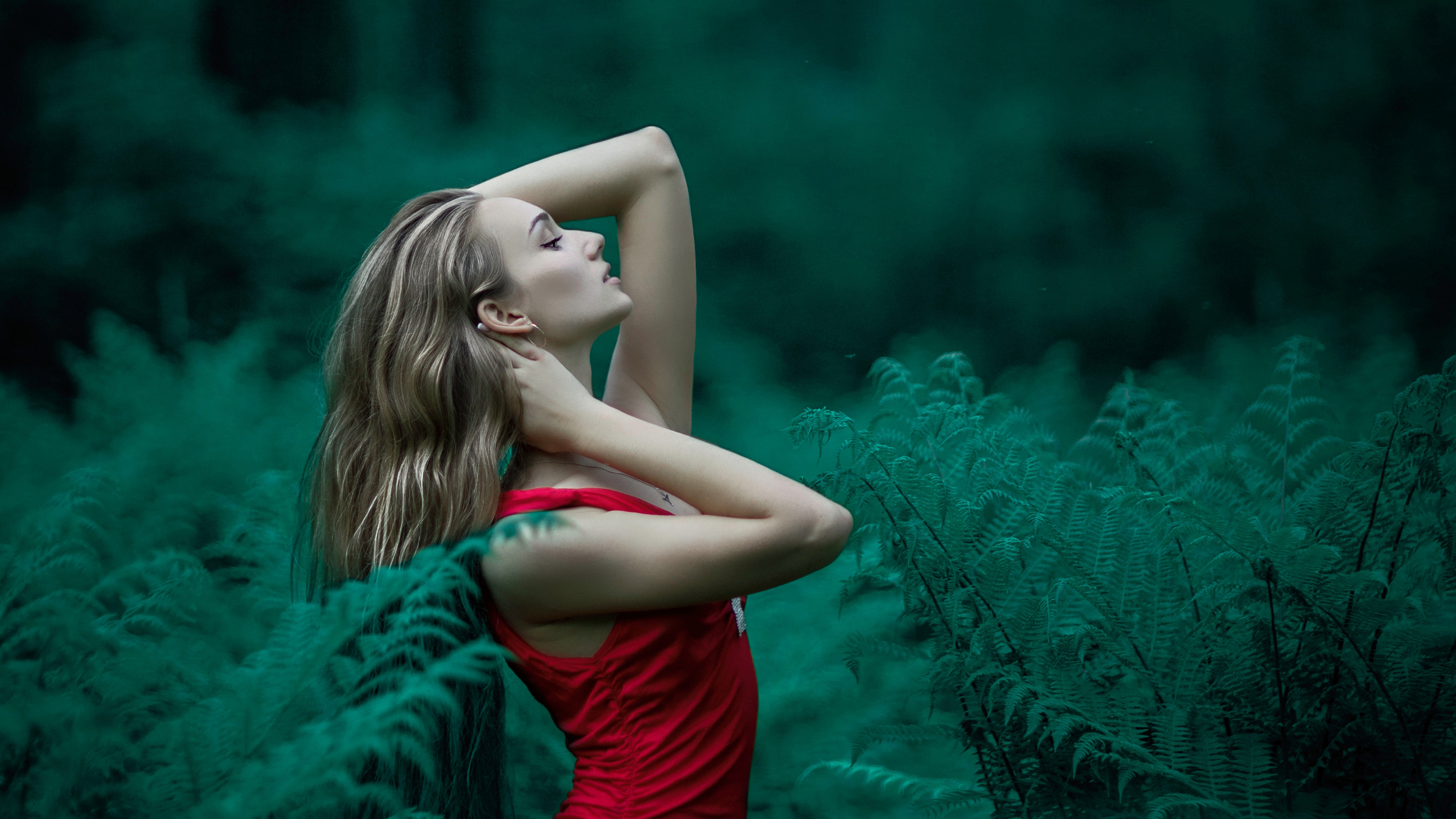 Red Dress Girl In Forest Hd Girls 4k Wallpapers Images