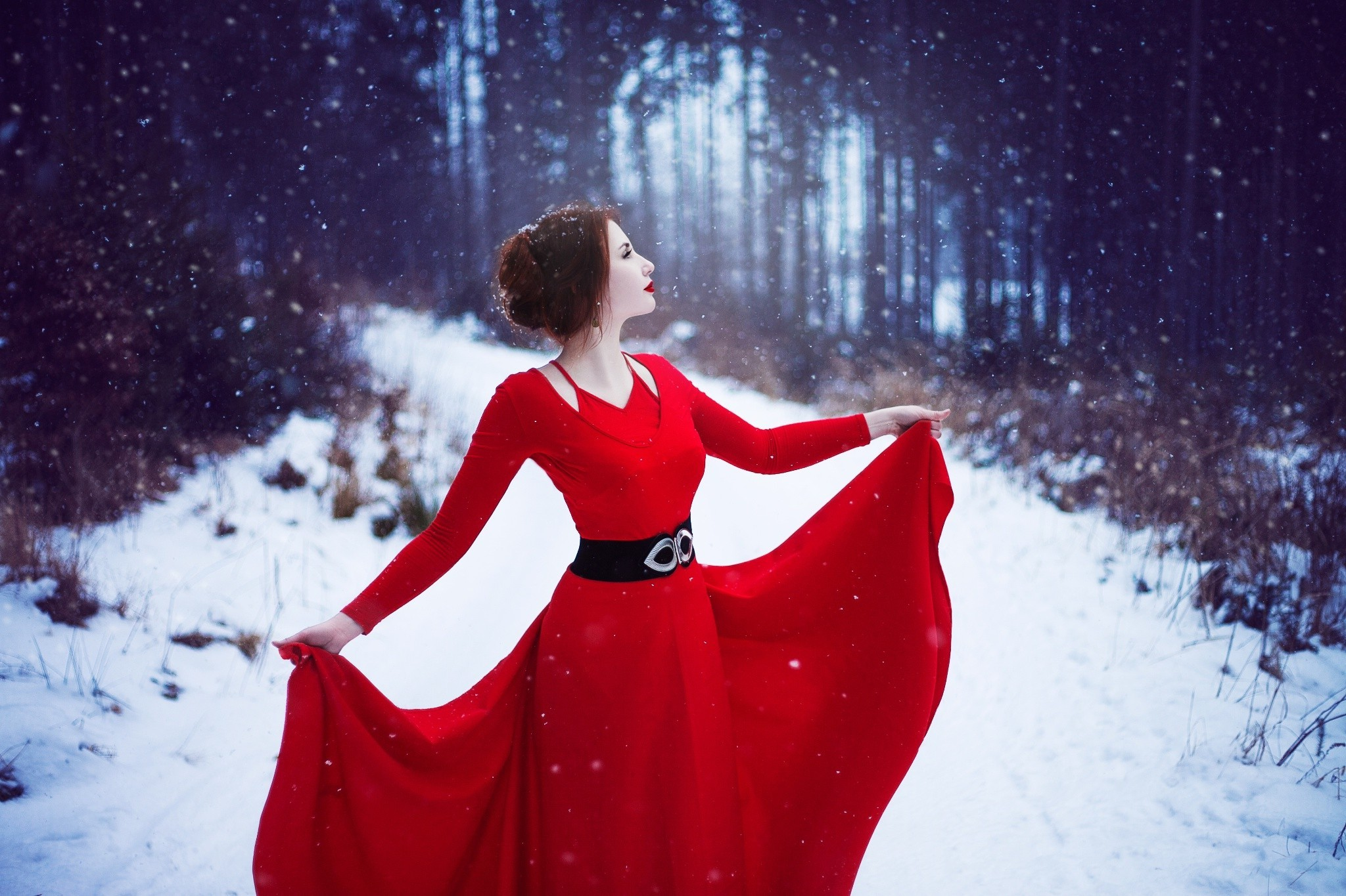 Red Dress Woman In Snow