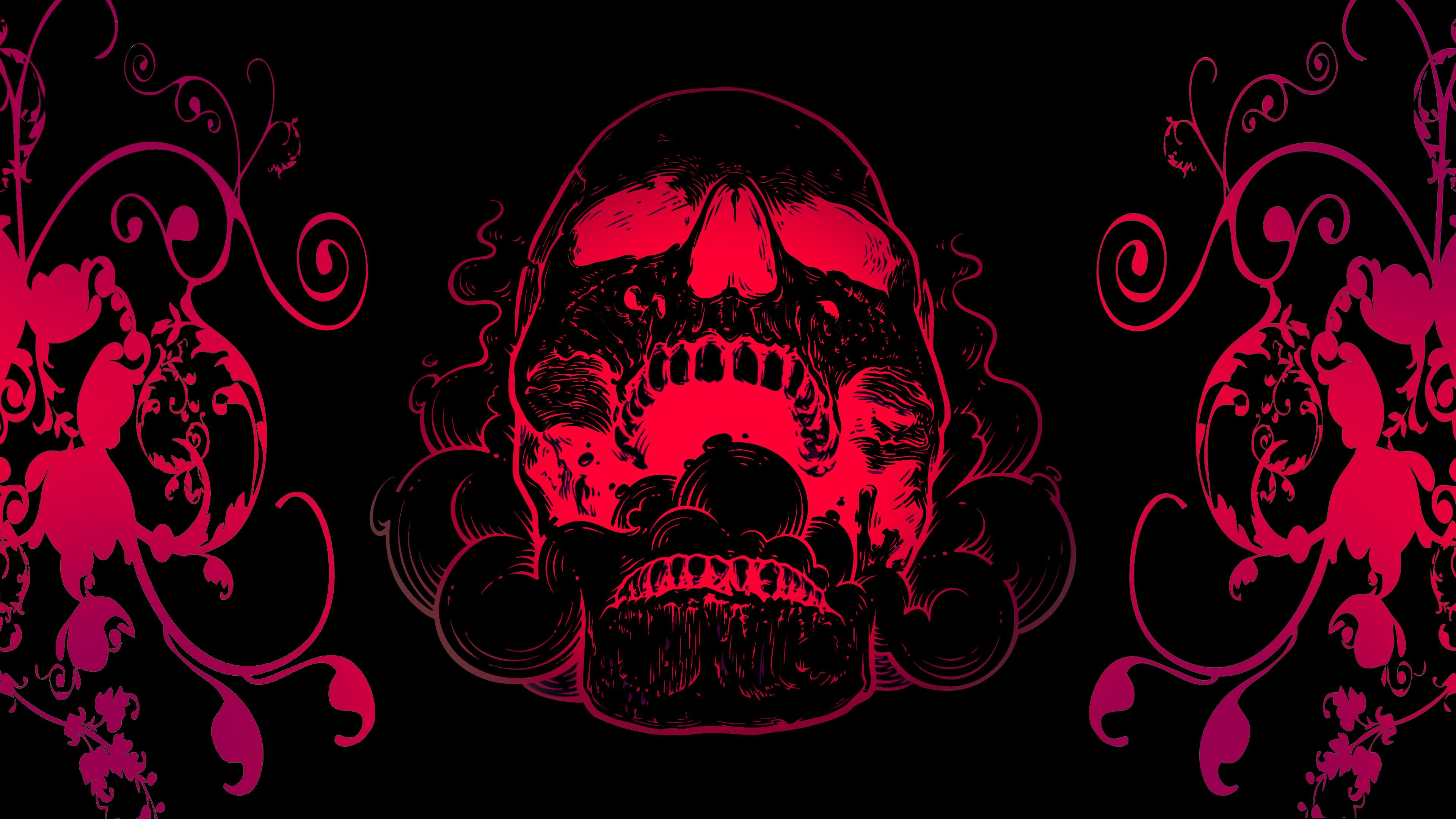 1920x1080 Red Skull Flowers Black Background 4k Laptop ...