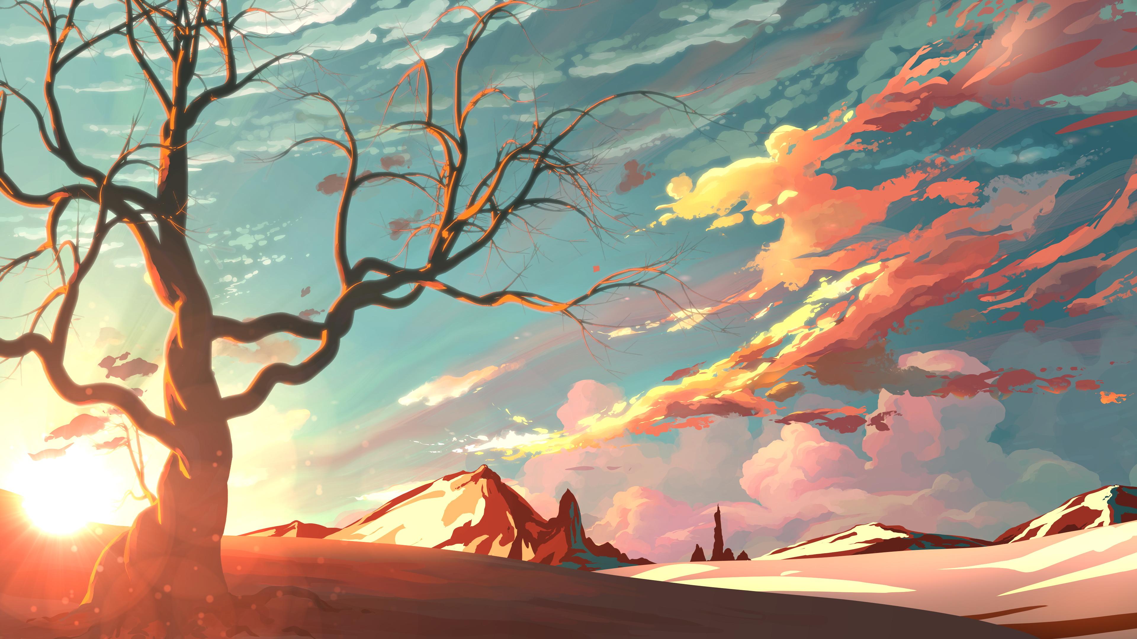 Planet Fantasy Art 4k Hd Desktop Wallpaper For 4k Ultra: Red Sky Mountains Trees Digital Art Painting 4k, HD Artist
