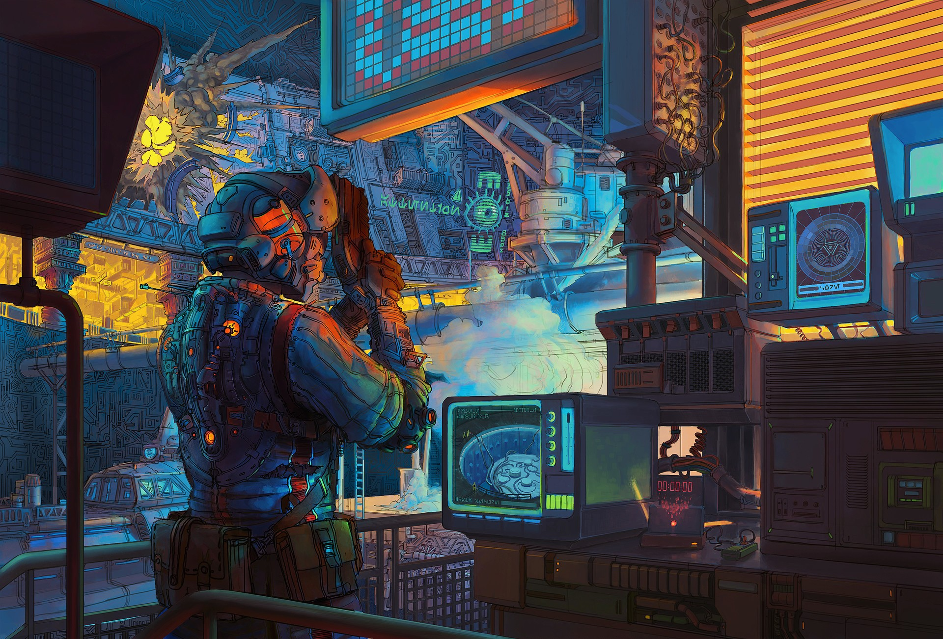 Retro Lab Scifi Artwork