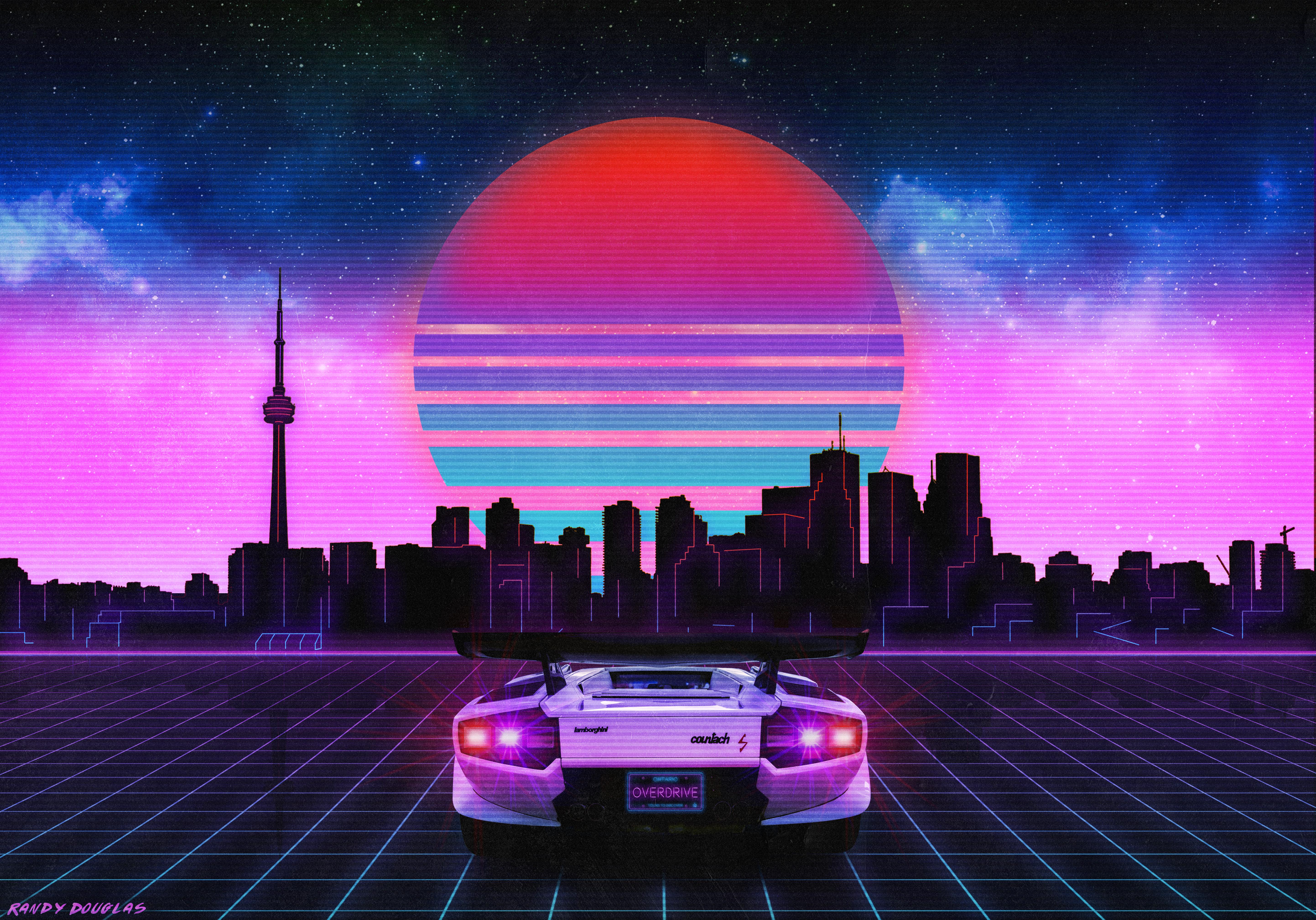 Retro Wave Lamborghini Neon City 5k