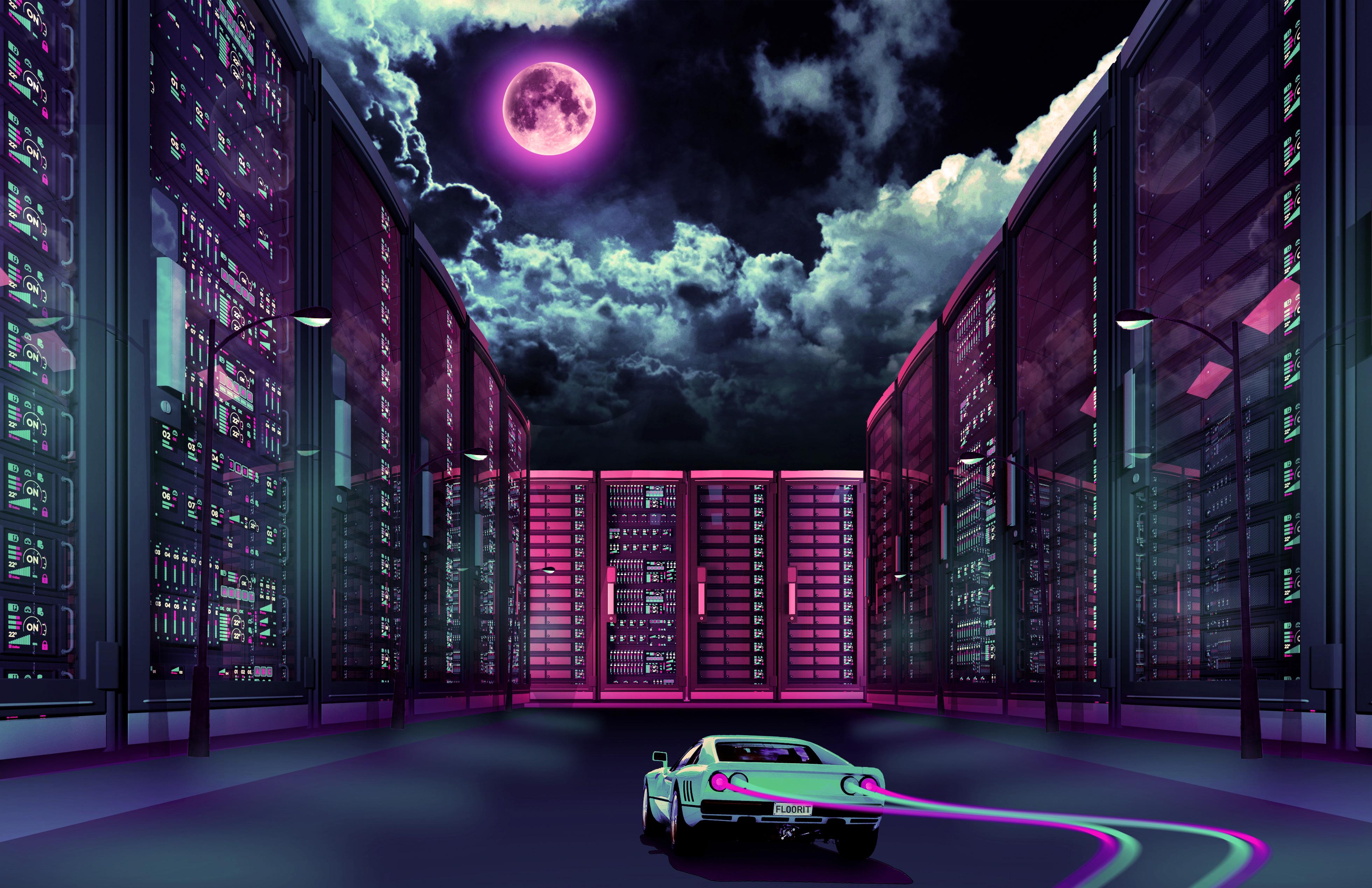 1920x1080 Retrowave Car Going Through City Moon Laptop ...
