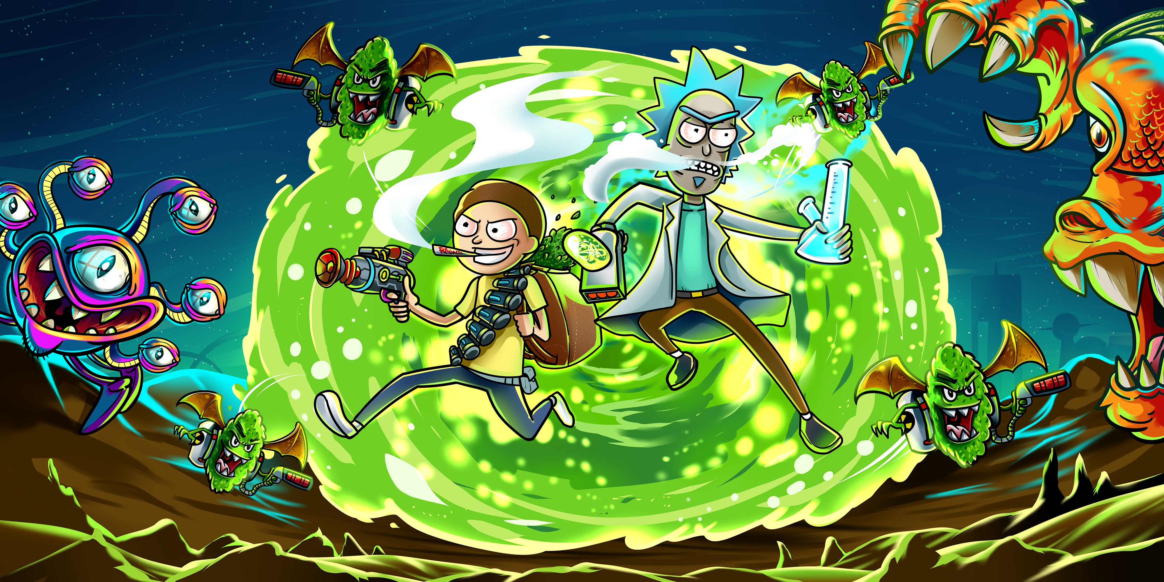 Rick And Morty In Another Dimension Illustration, HD Tv ...