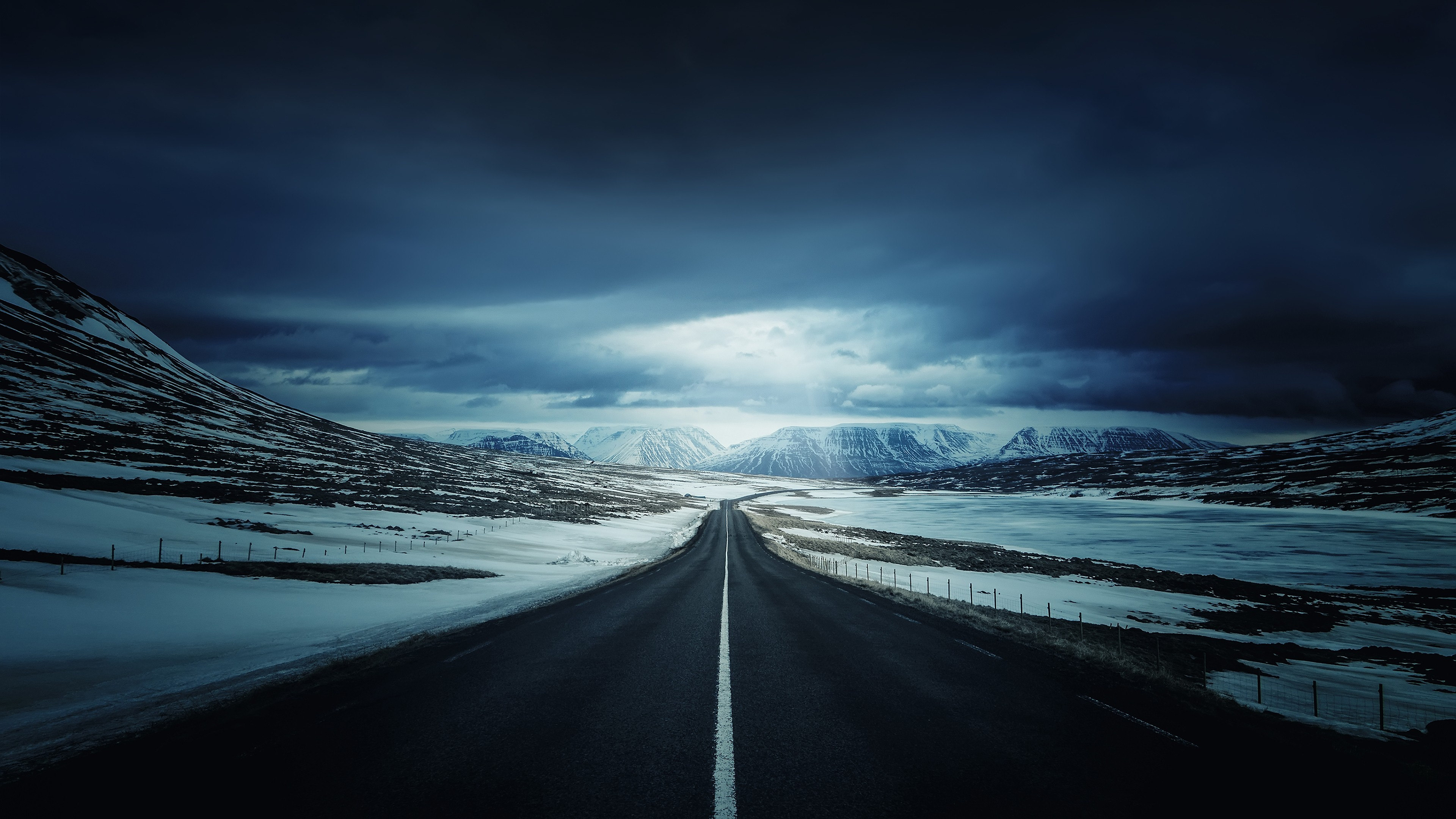 4k Hd Wallapaper: Road Iceland Clouds Highway Mountains Landscape 4k, HD