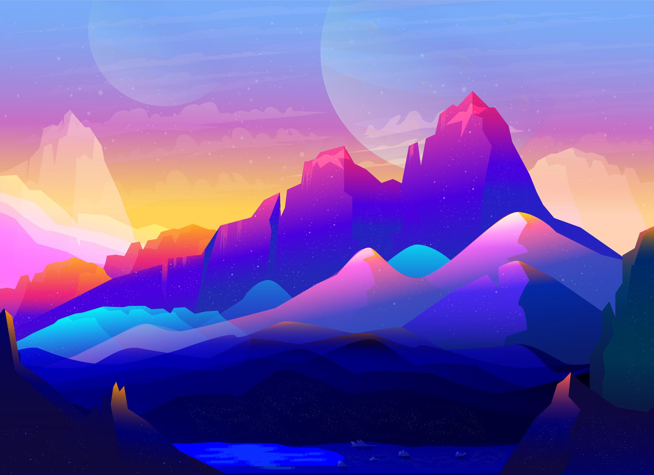 Wallpaper Mountain Minimal Half Moon Hd Creative: Rock Mountains Landscape Colorful Illustration Minimalist