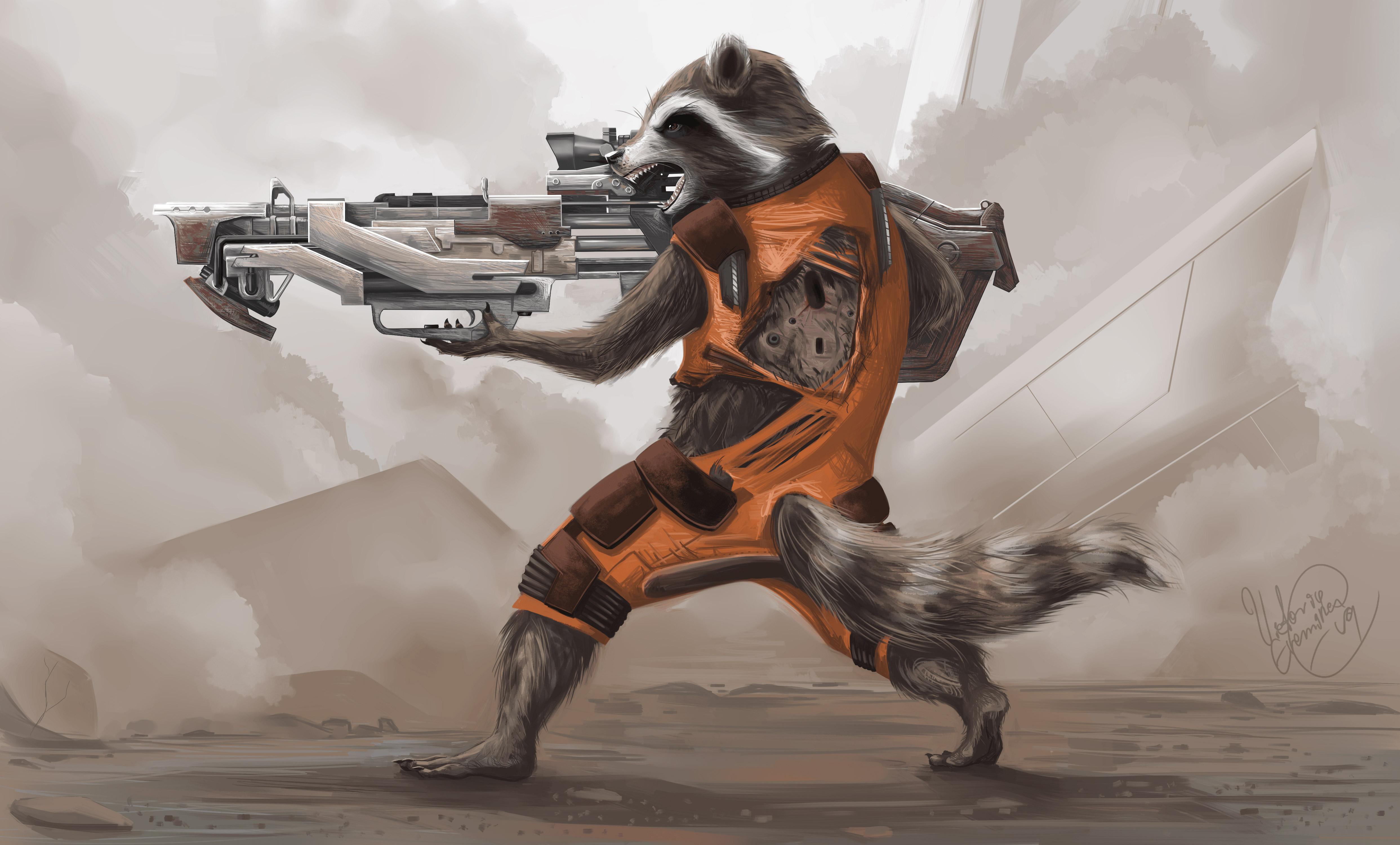 Rocket raccoon artwork 4k hd artist 4k wallpapers - Rocket raccoon phone wallpaper ...