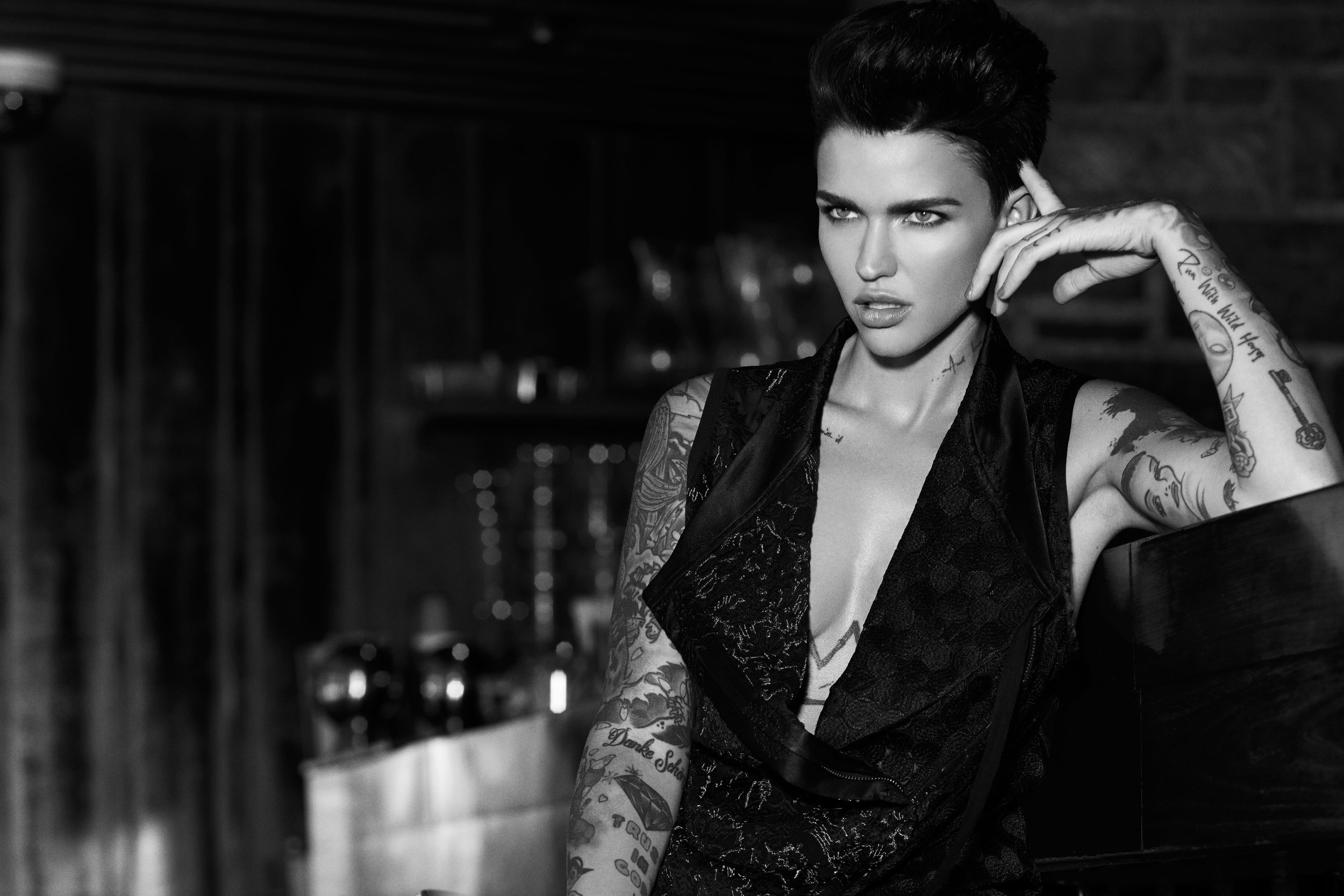 Ruby Rose Monochrome HD Celebrities 4k Wallpapers Images