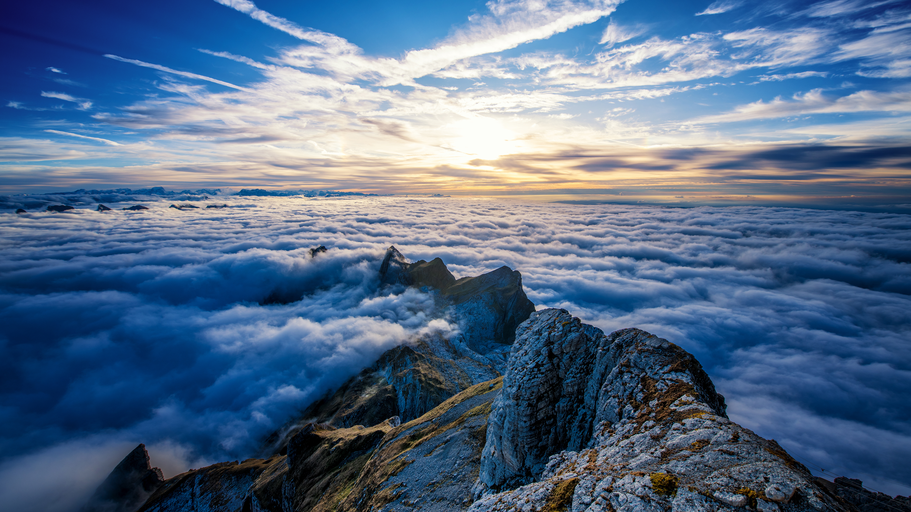 White Clouds In The Sky 4k Hd Desktop Wallpaper For 4k: Saentis Mountains Clouds View From Top 4k, HD Nature, 4k