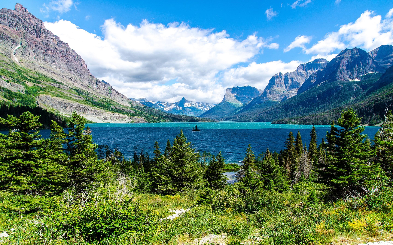 Saint mary lake glacier national park hd nature 4k - Glacier national park wallpaper ...