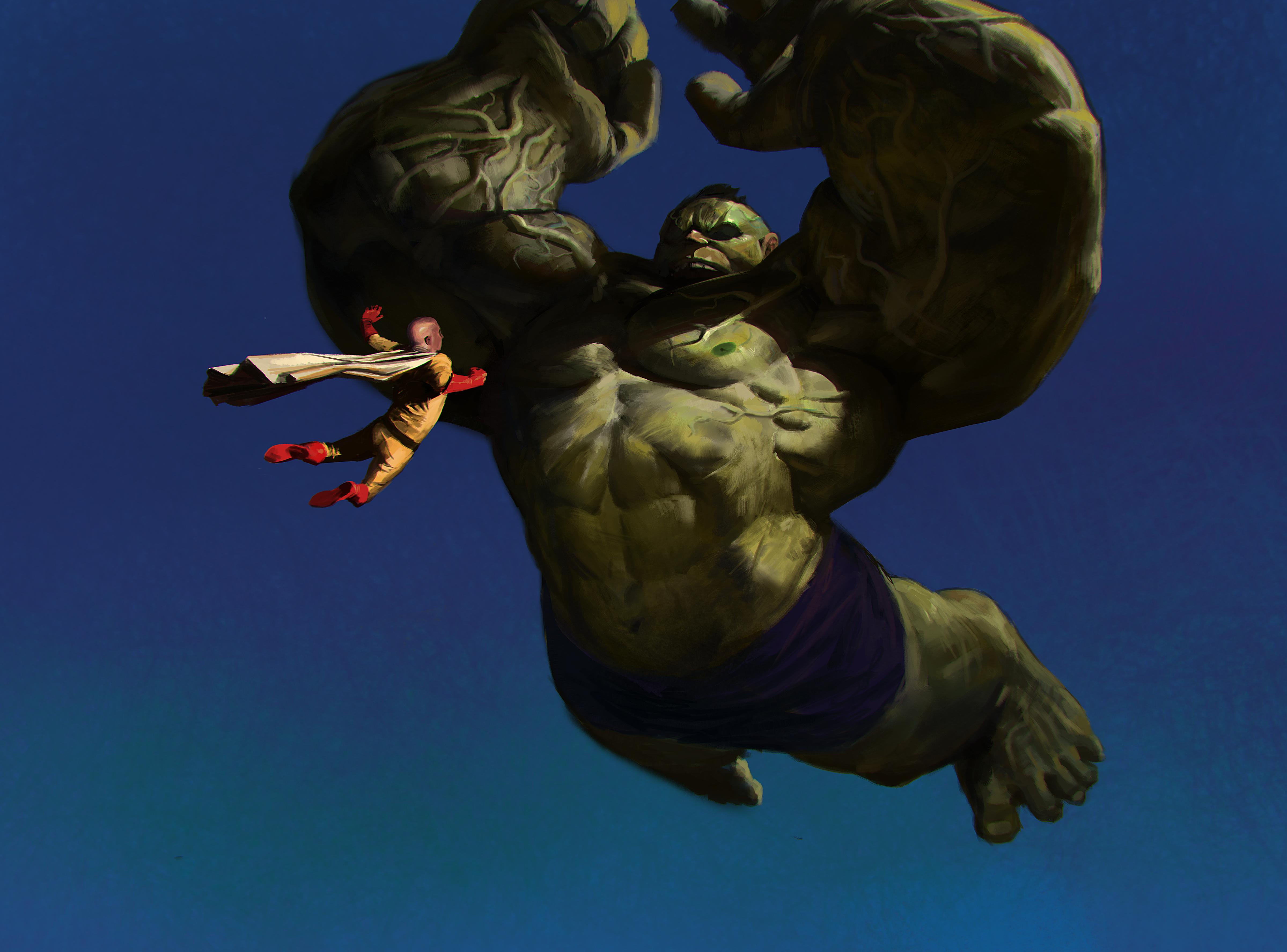 Saitama Vs Hulk Hd Anime 4k Wallpapers Images Backgrounds