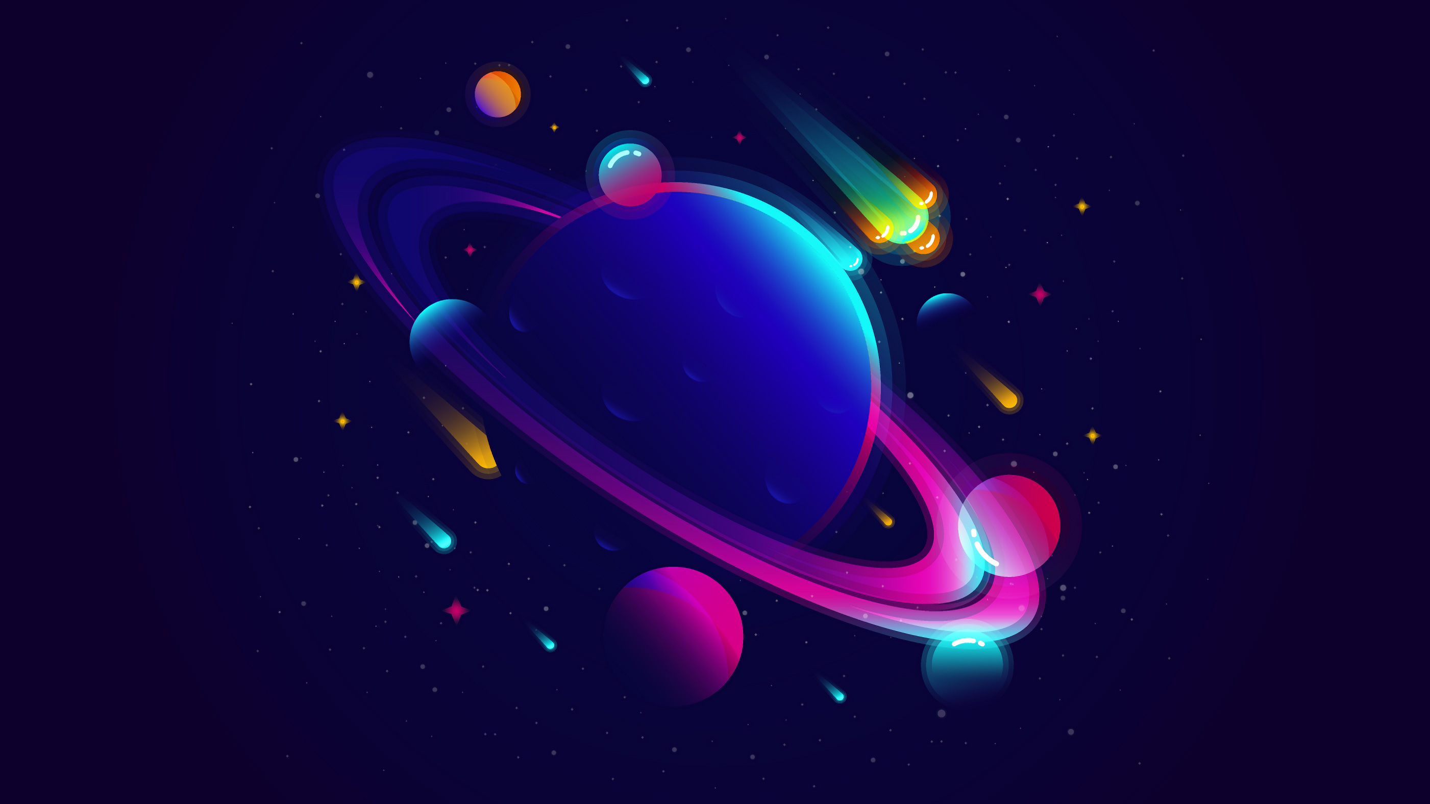 Saturn Planet Illustration Minimalist Hd Artist 4k