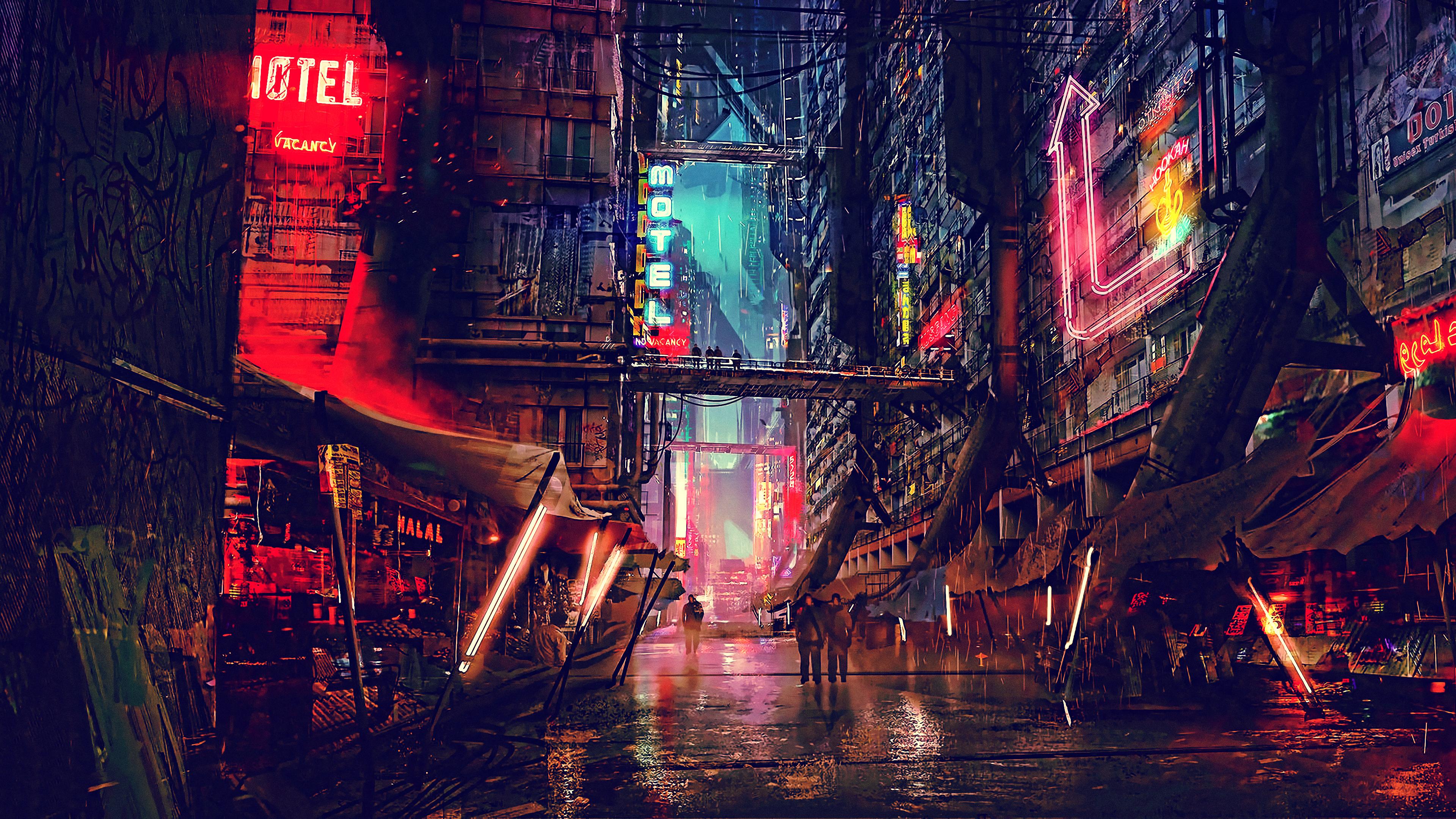 Futuristic City Wallpaper Hd: Science Fiction Cyberpunk Futuristic City Digital Art 4k