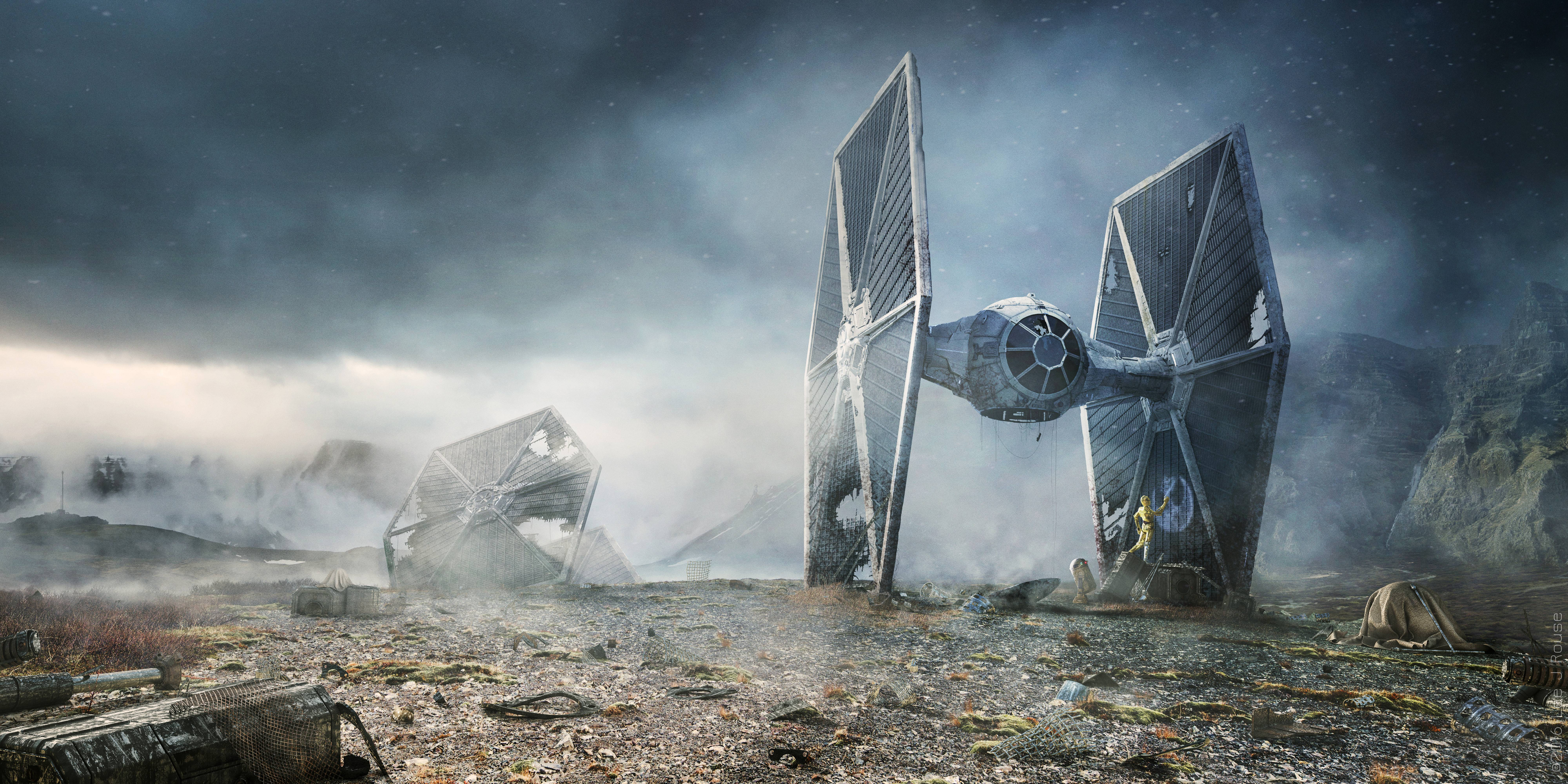 1366x768 scifi c 3po r2 d2 star wars tie fighter 1366x768 resolution