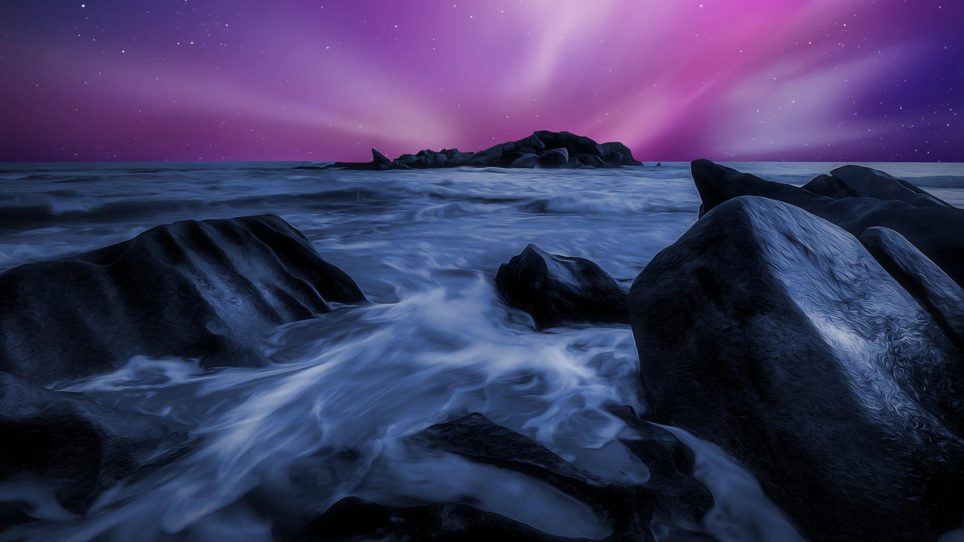 Sea Durning Night Time Rocks Artwork