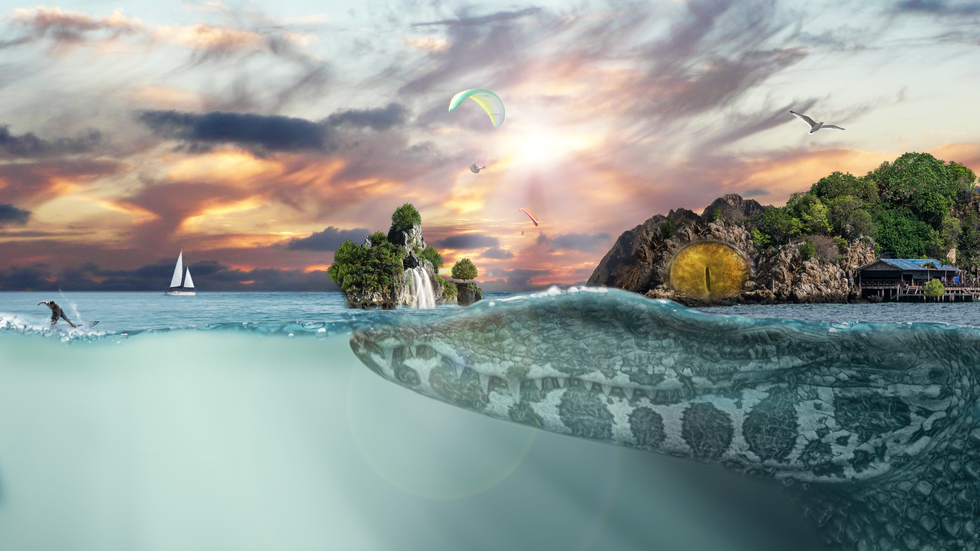 Sea Island Fantasy Hd Creative 4k Wallpapers Images