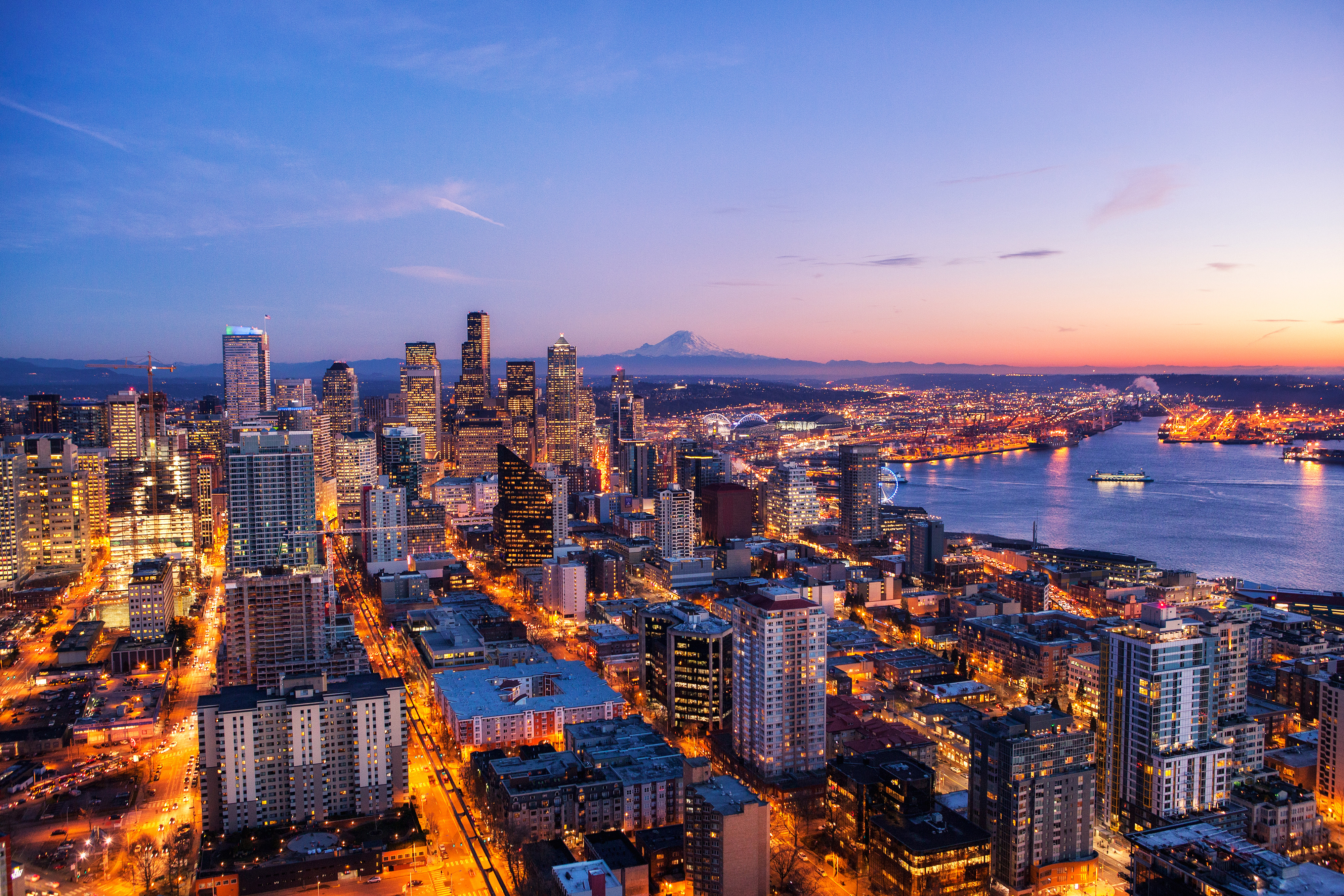 Seattle skyline at night view 4k hd world 4k wallpapers images backgrounds photos and pictures - Background images 4k hd ...